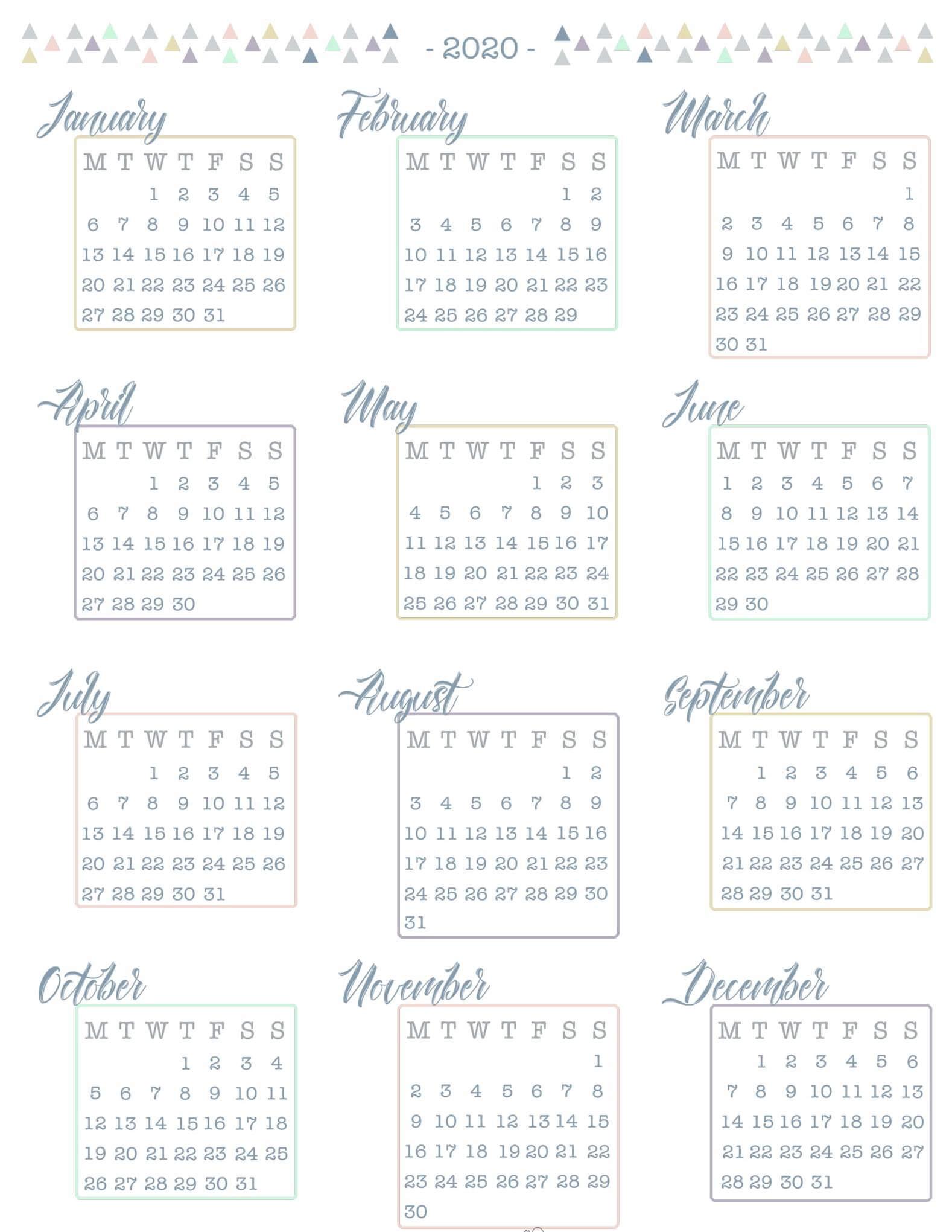 Year Calendar 2020 Word Format