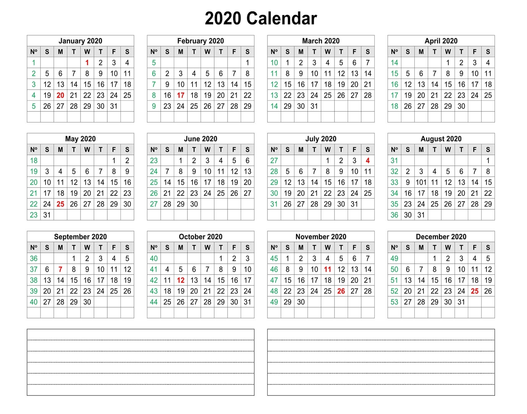 Yearly 2020 Calendar With Notes