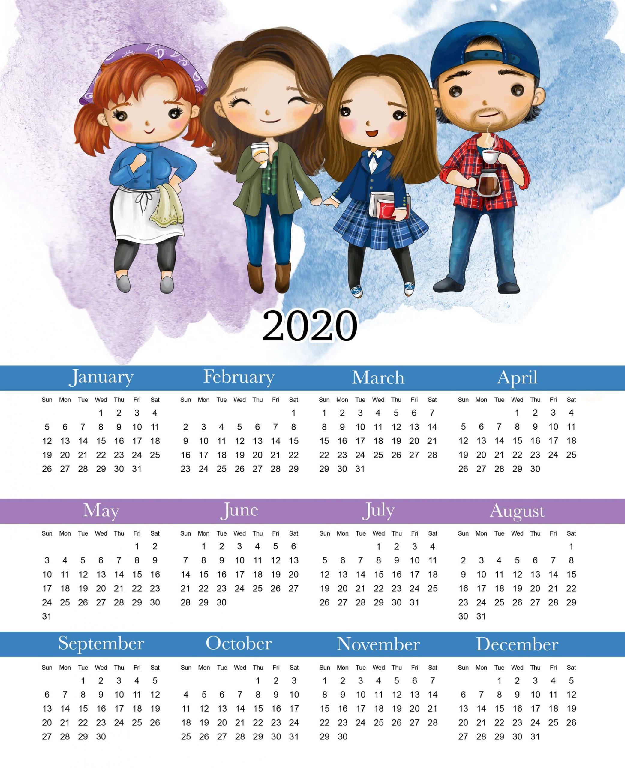 Yearly Calendar 2020 Cute