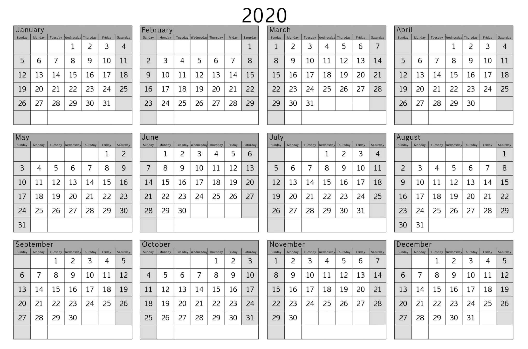 Yearly Calendar 2020 Print