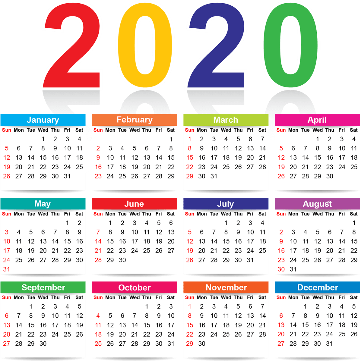 Yearly Calendar 2020 Printable Cute