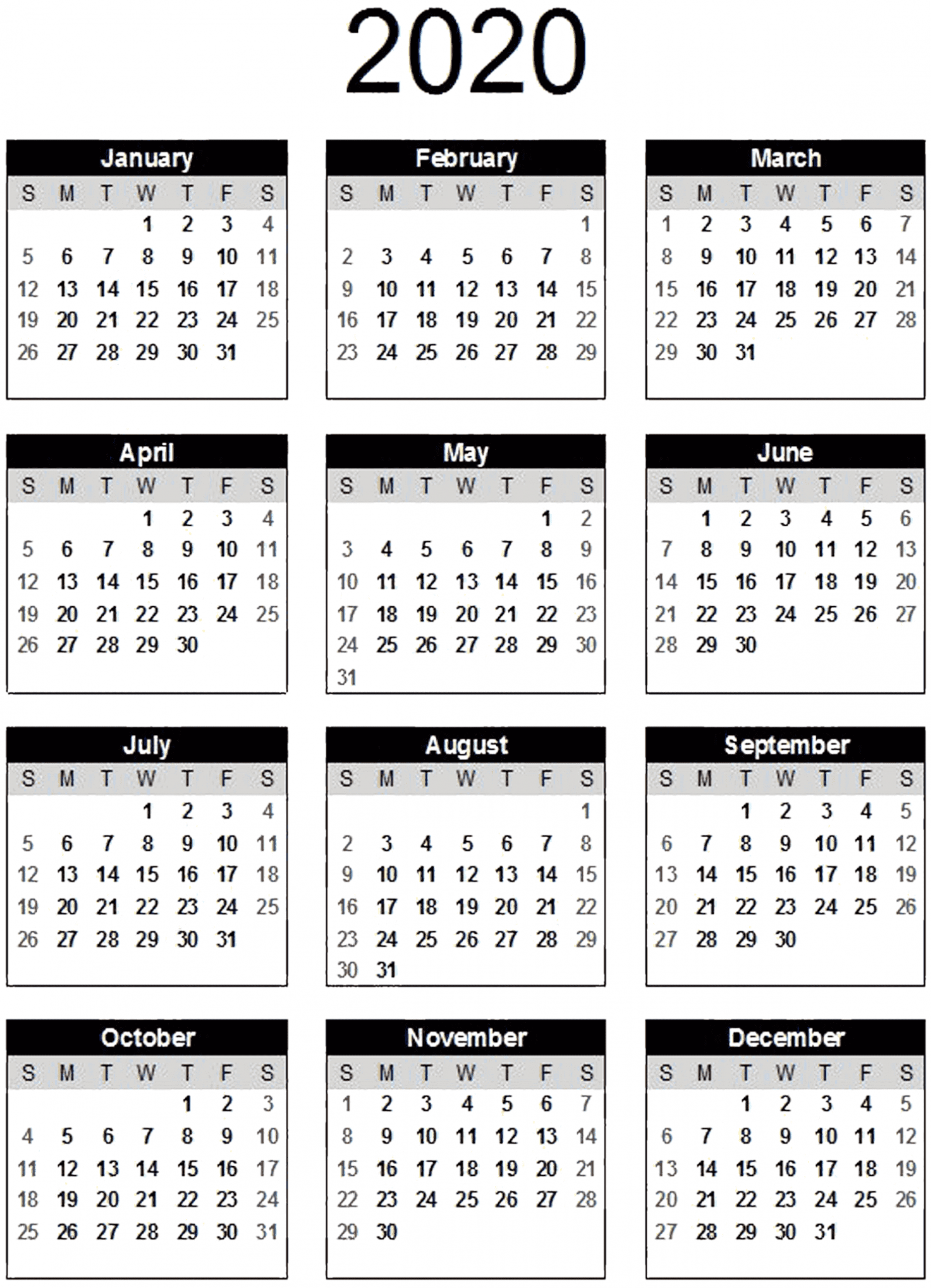 Yearly Calendar Template Word 2020