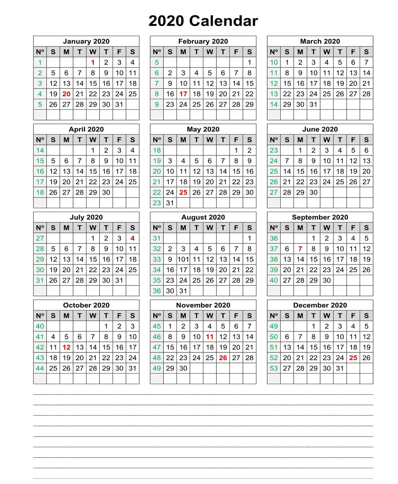 Yearly Calendar With Notes 2020