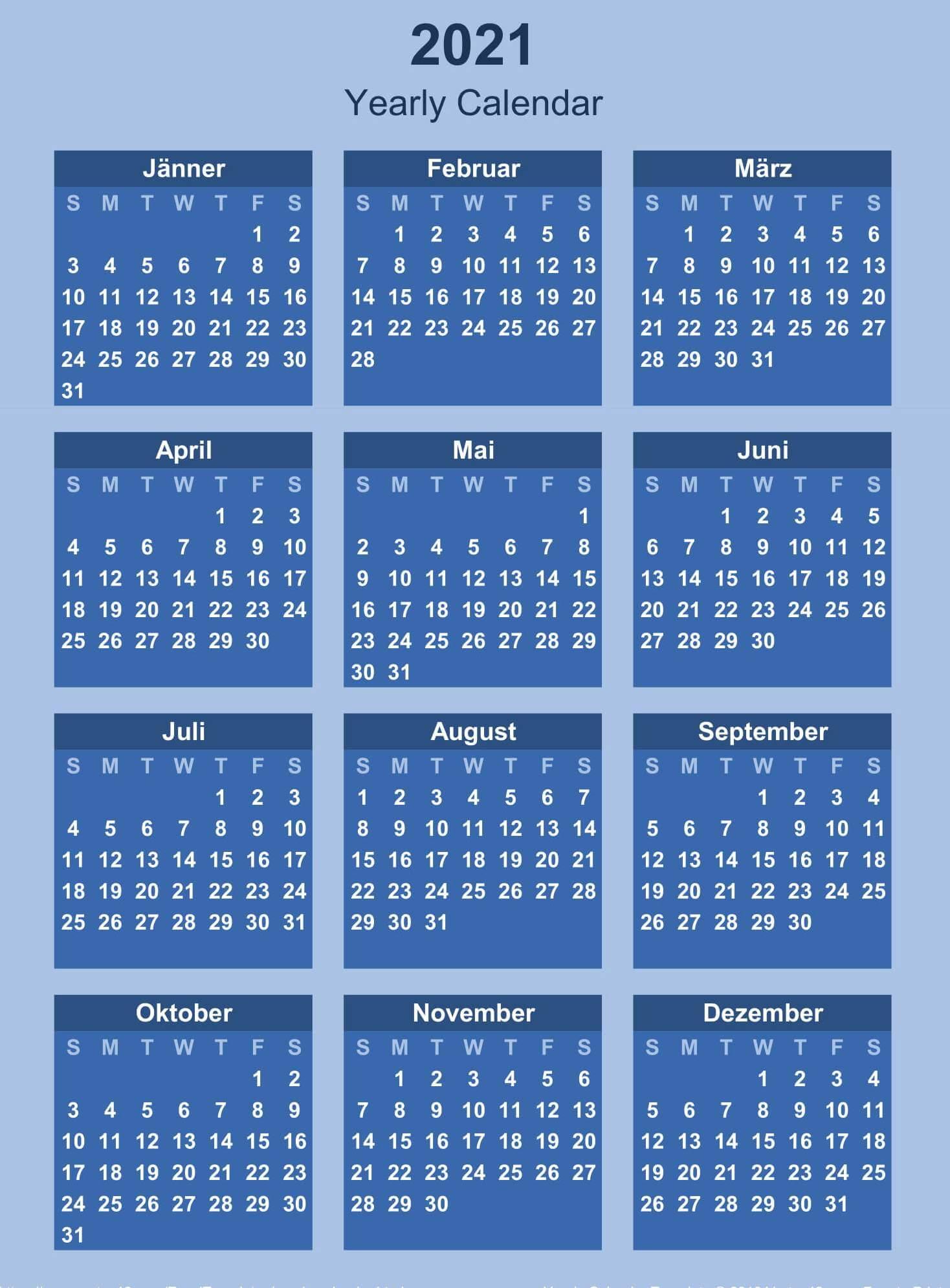 1 Year Calendar 2021 Template