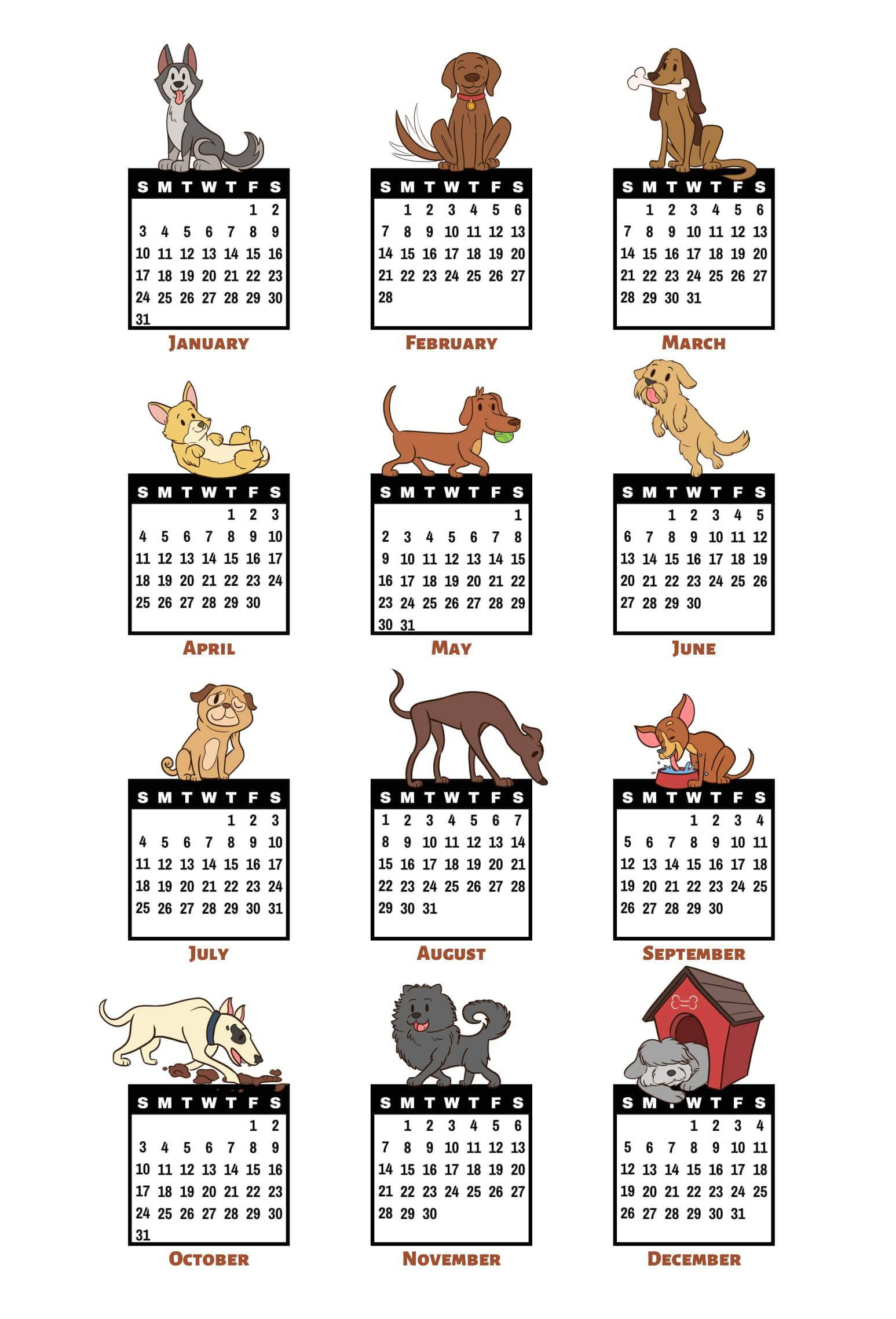 12 Month Yearly Calendar 2021 Template