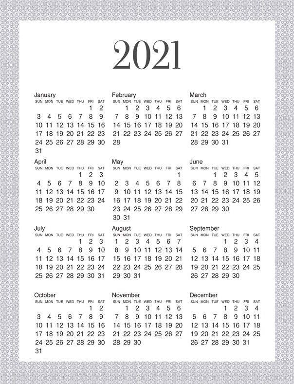 2021 Calendar Cute