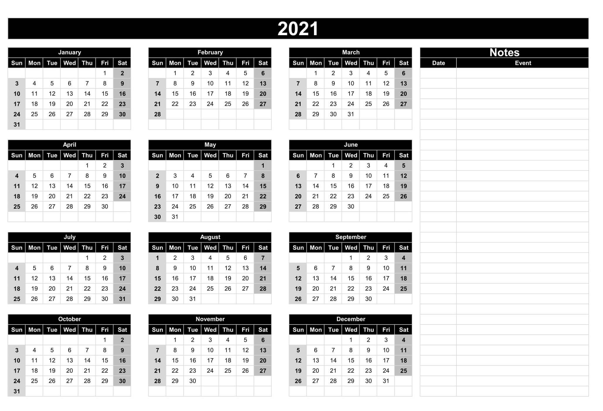 2021 Calendar Template With Notes