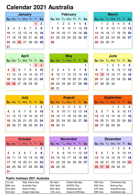 2021 Yearly Calendar Excel Australia