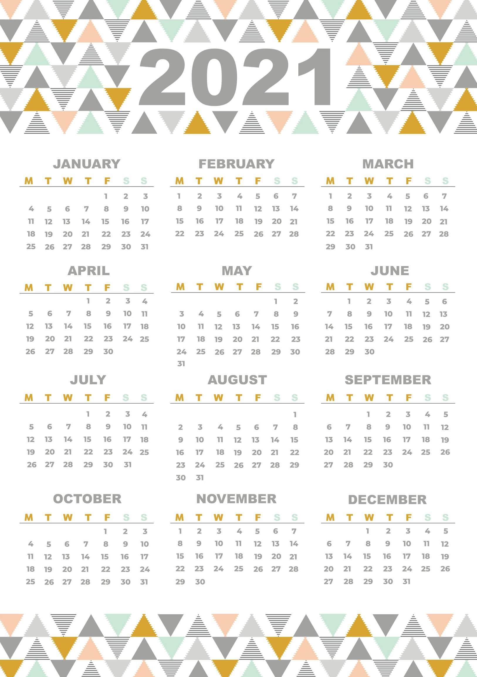 2021 Yearly Calendar Printable Portrait