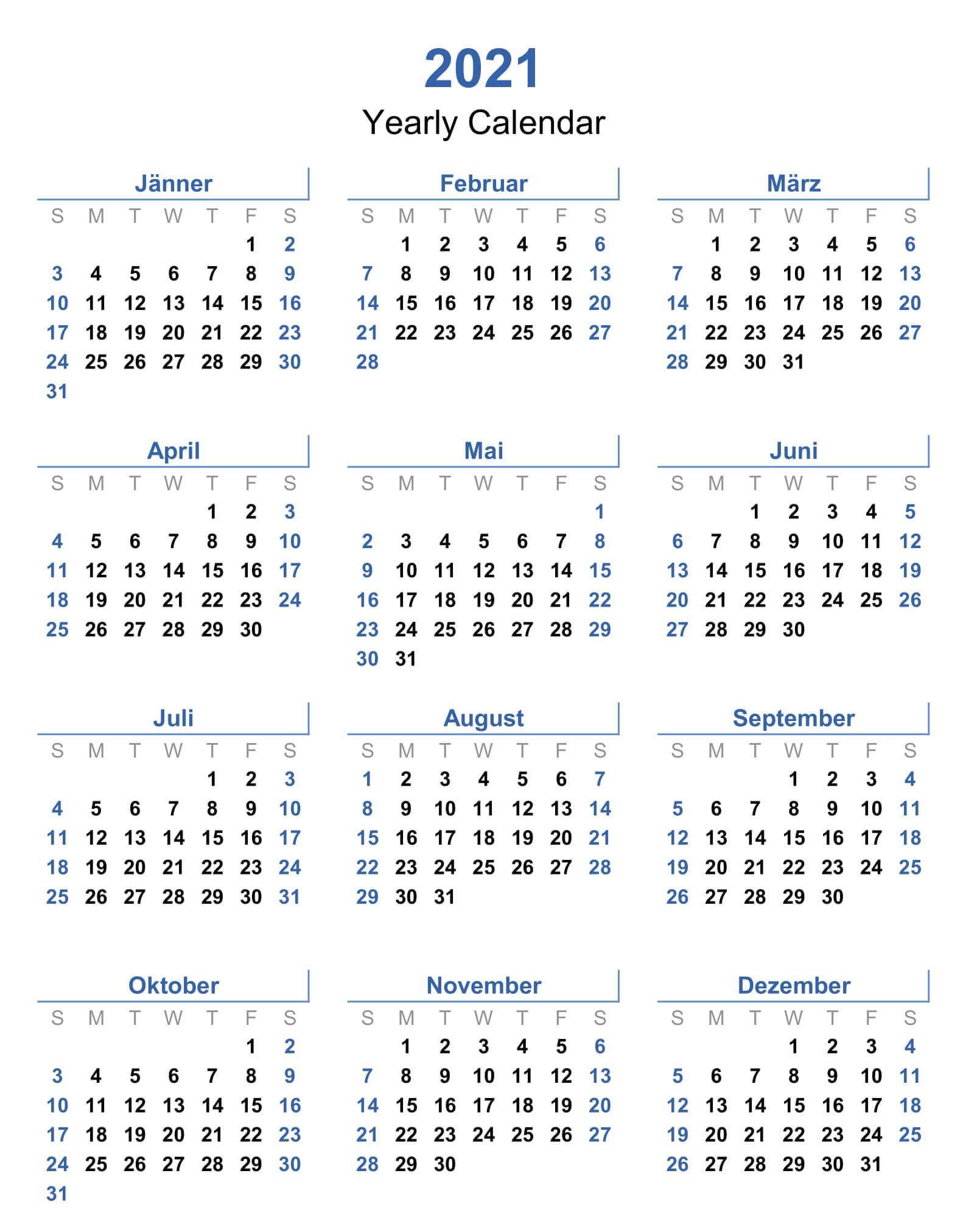 2021 Yearly Calendar Printable Word