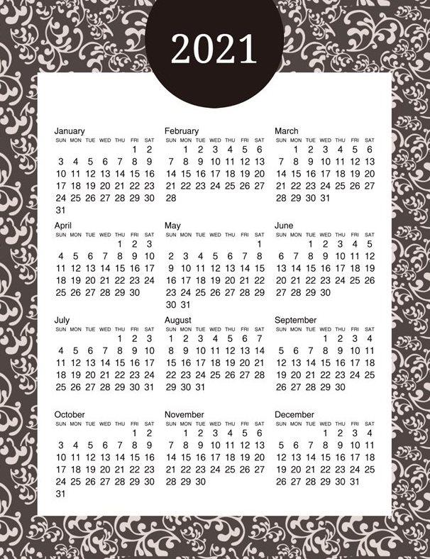2021 Yearly Calendar Template Cute