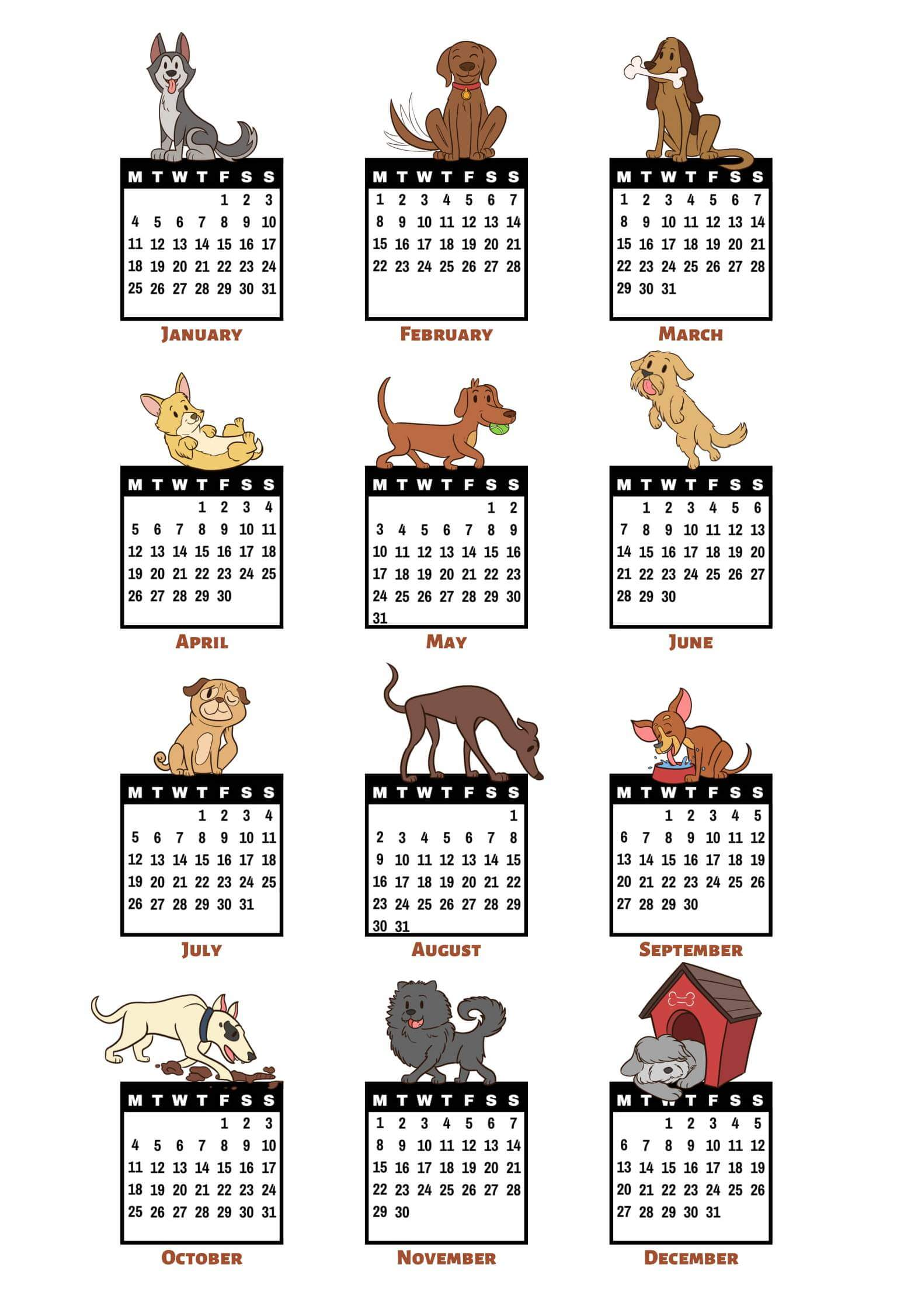 2021 Yearly Calendar Template Monthly
