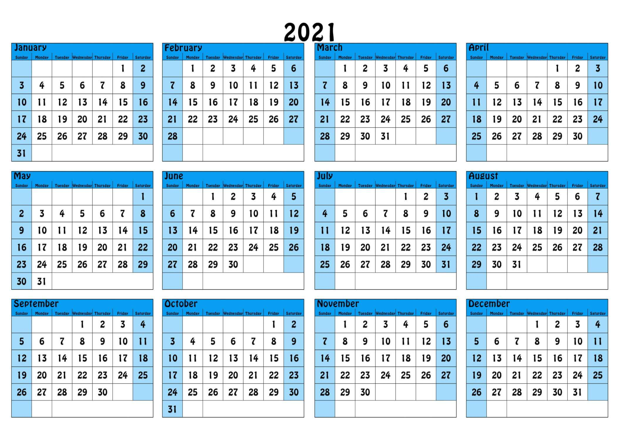 A4 Yearly Calendar 2021