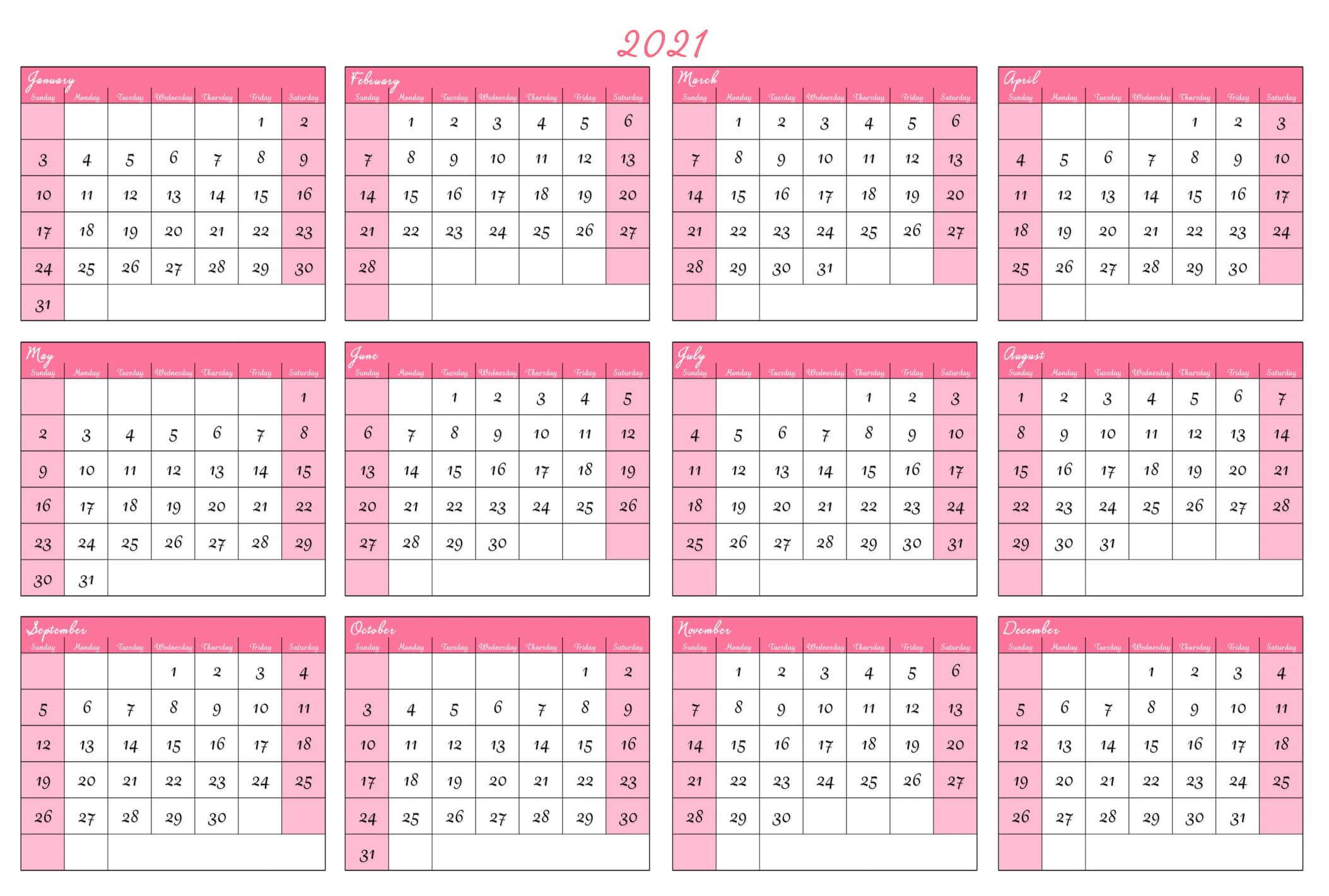At A Glance Calendar 2021 Free