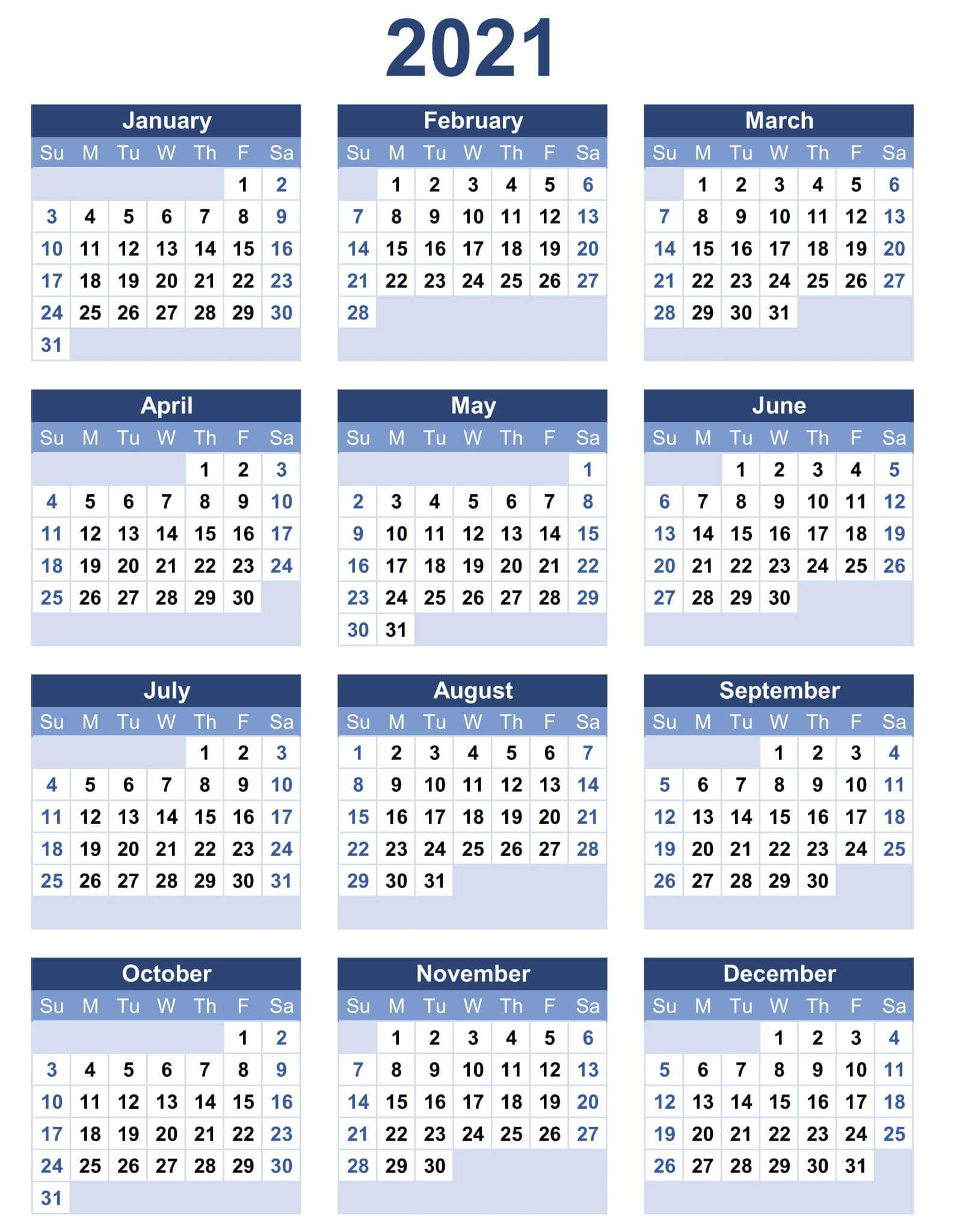 At A Glance Calendar 2021