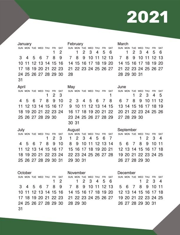 At A Glance Yearly Calendar 2021