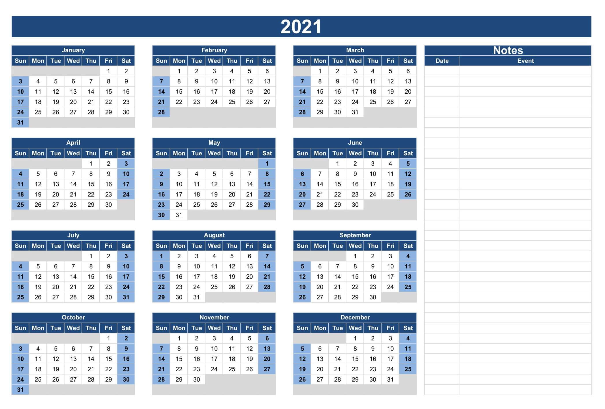 Calendar Template With Notes 2021