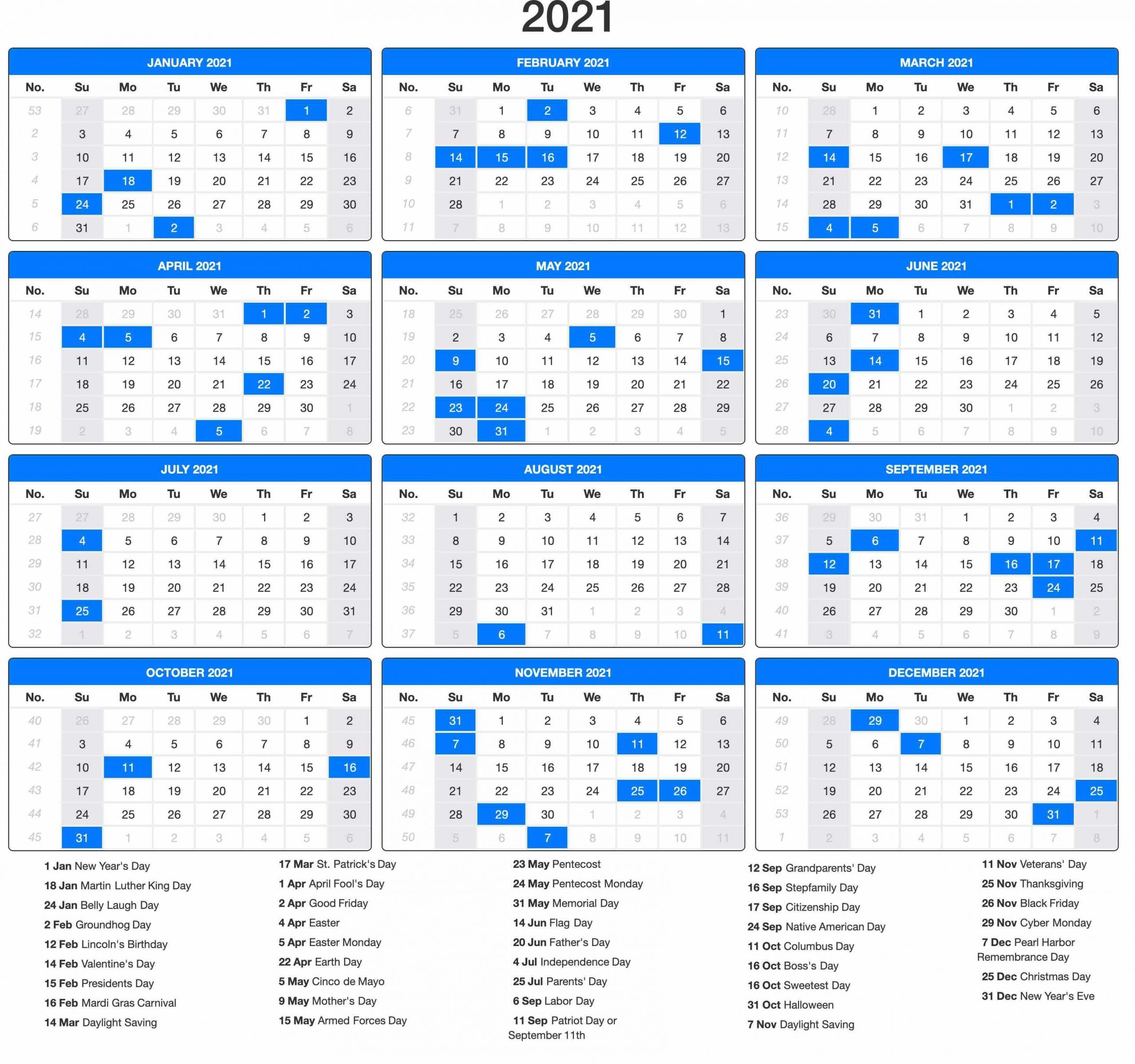 Calendar Year 2021 Holidays