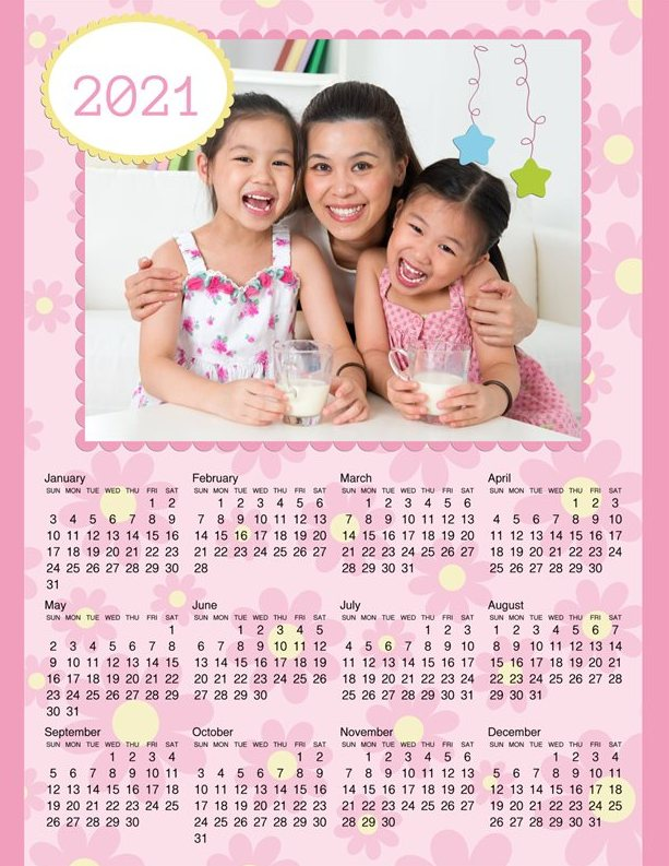 Colorful Yearly Calendar 2021