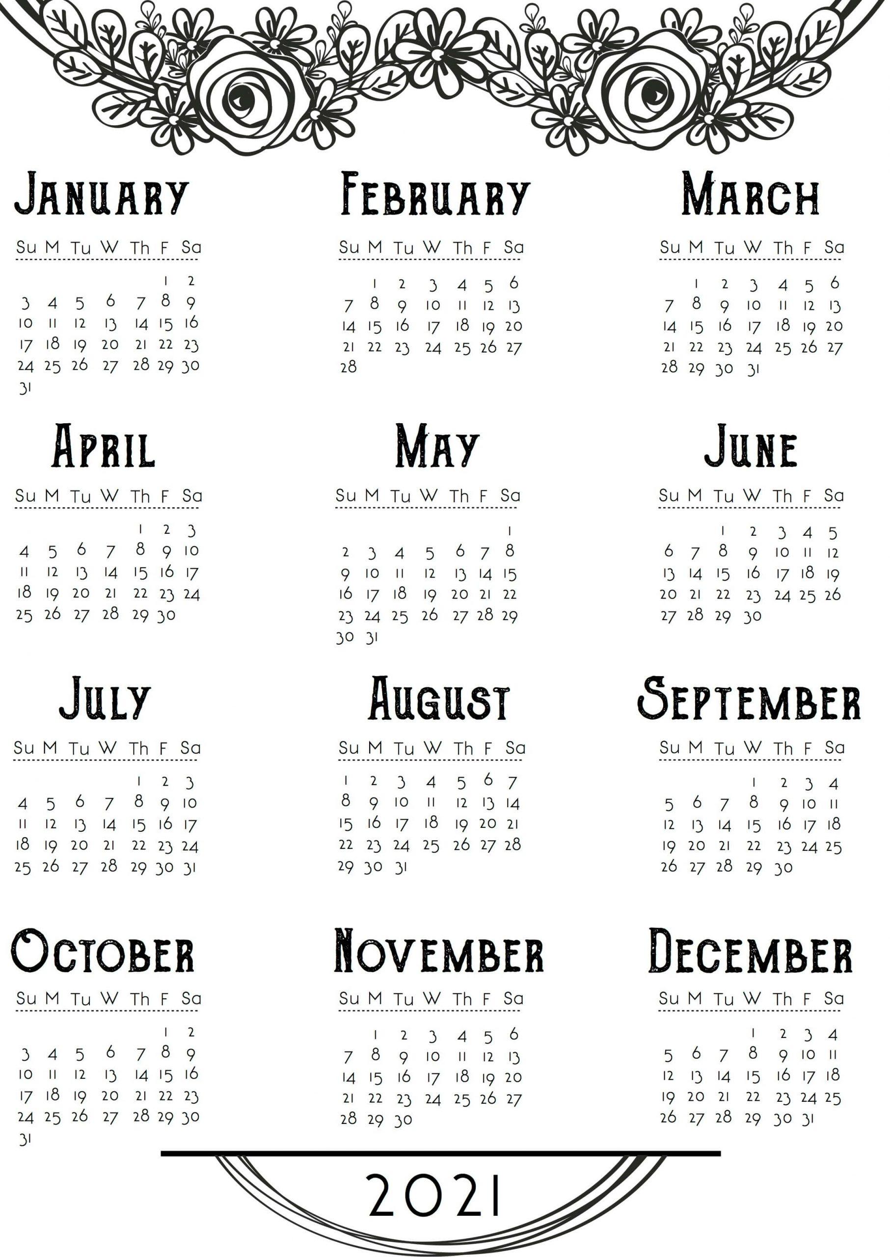 Cute Printable Yearly Calendar 2021