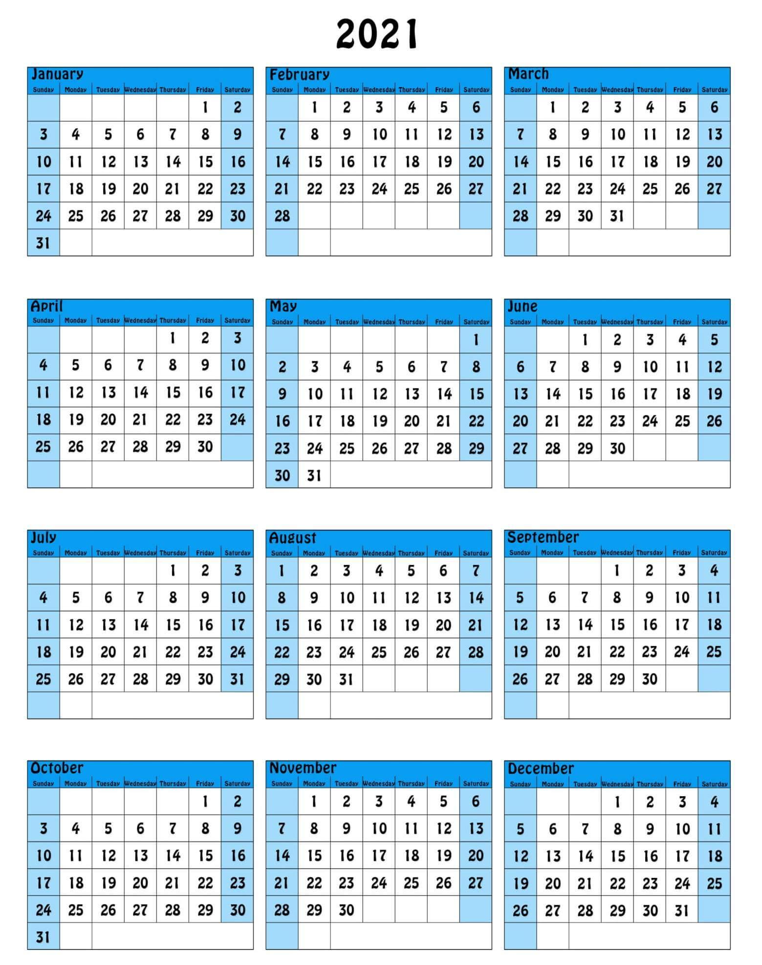 Editable Yearly Calendar 2021 South Africa
