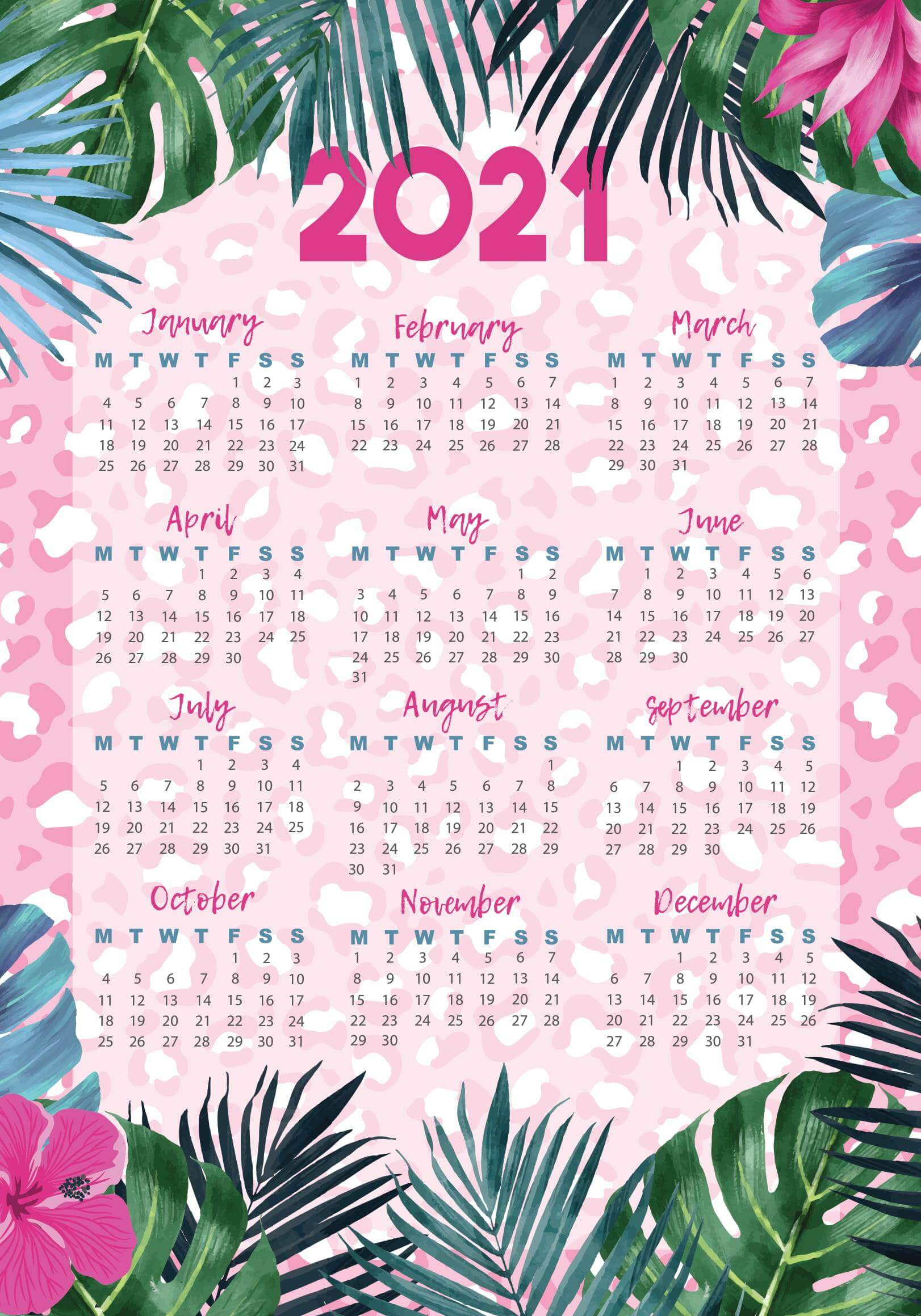 Fillable Yearly Calendar 2021