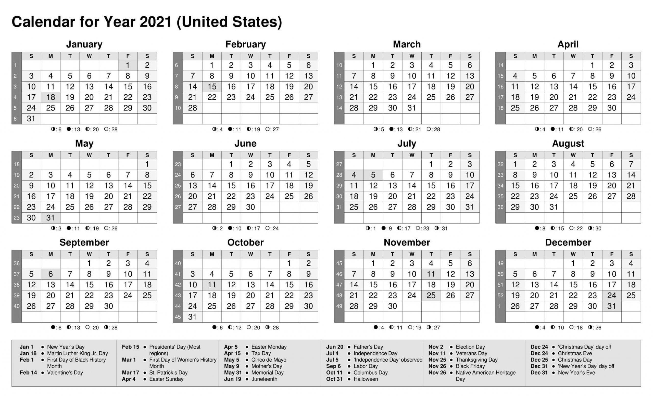 Fiscal Year Calendar 2021 US