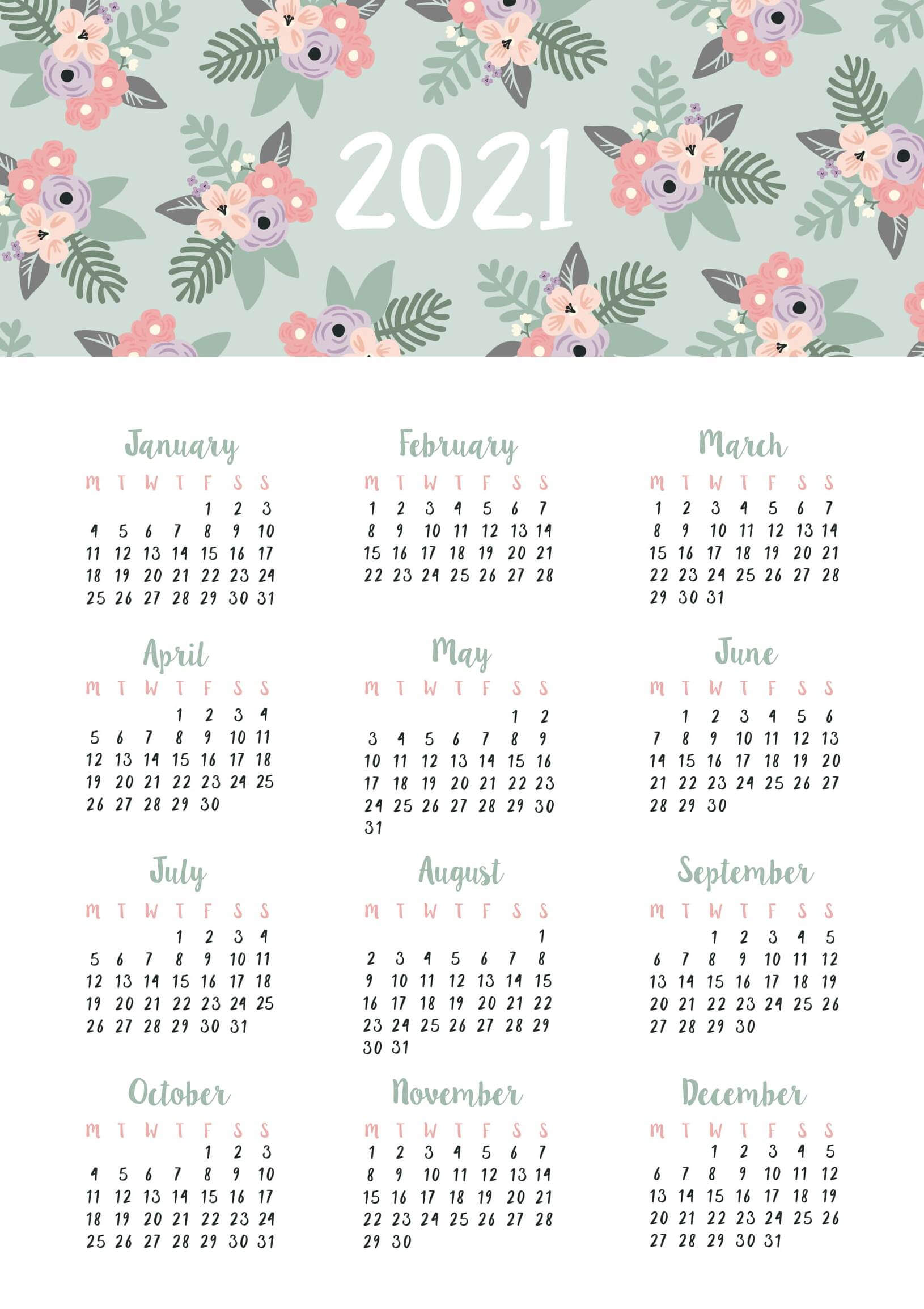 Free Printable Yearly Calendar Templates 2021