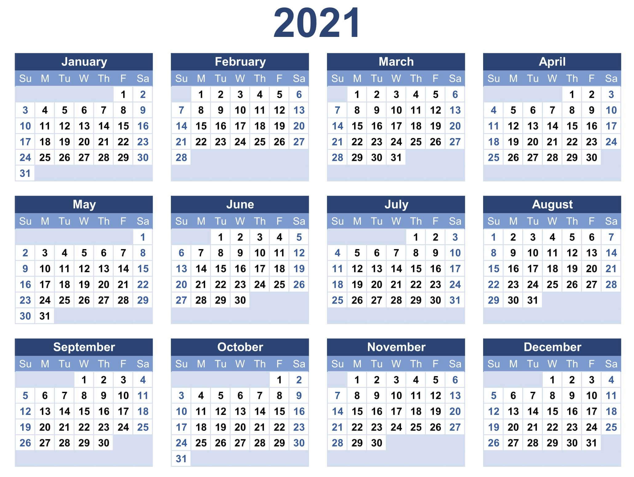Free Yearly Calendar 2021 Excel