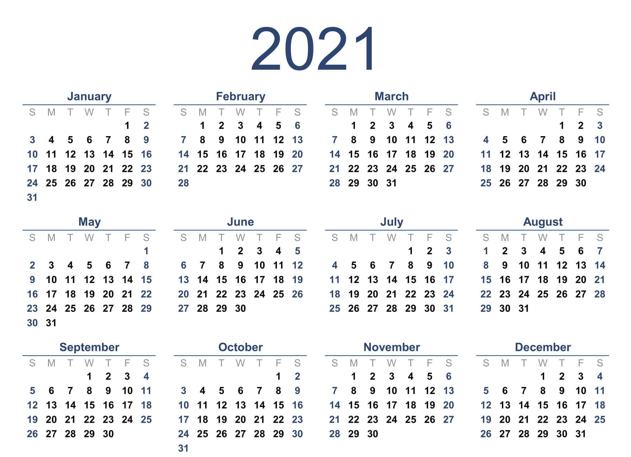 Free Yearly Calendar 2021