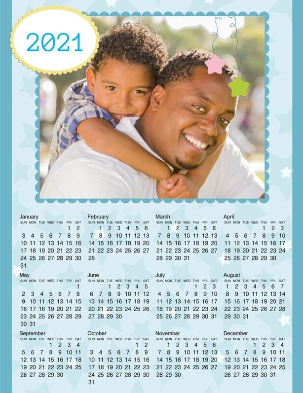 Full Page Calendar 2021