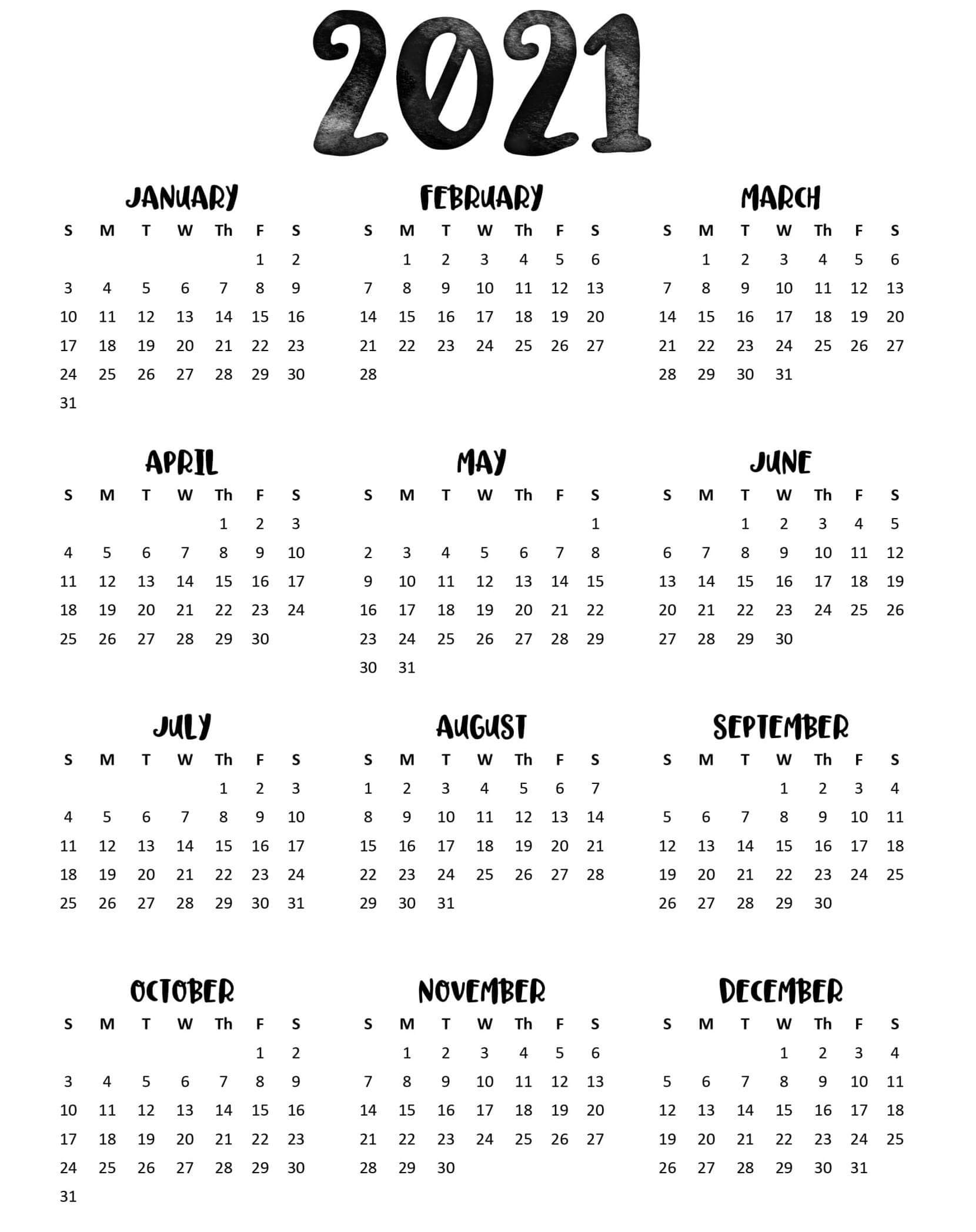 Full Page Yearly Calendar 2021