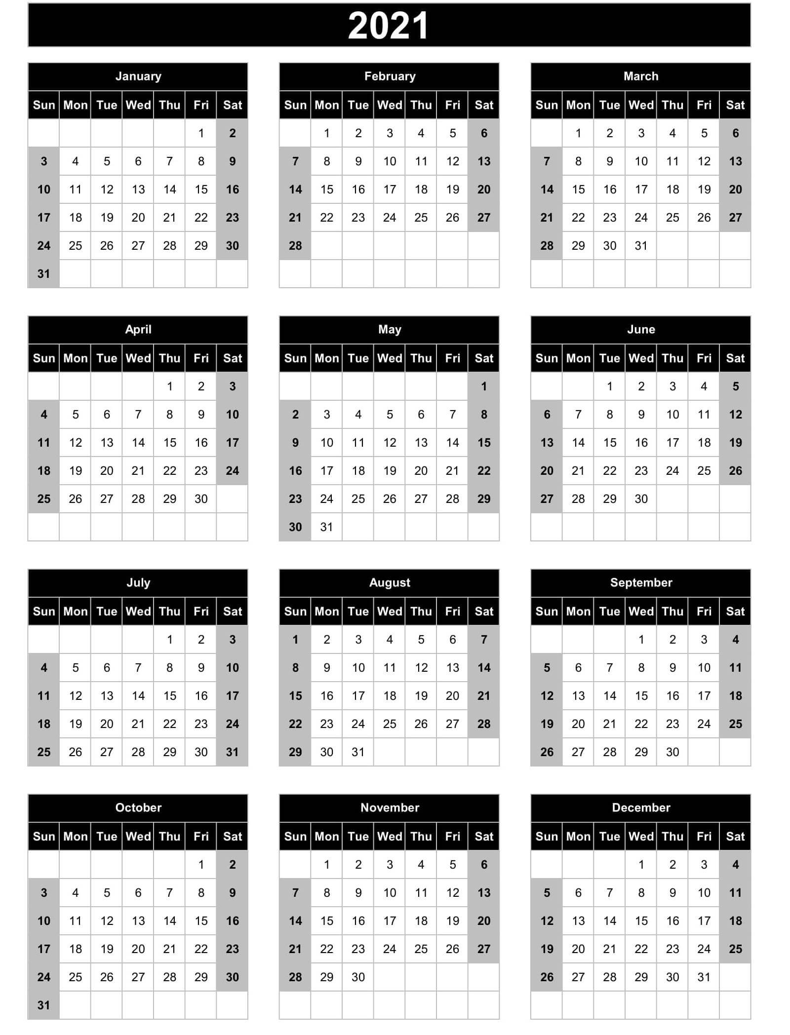 Full Year Calendar 2021 Excel