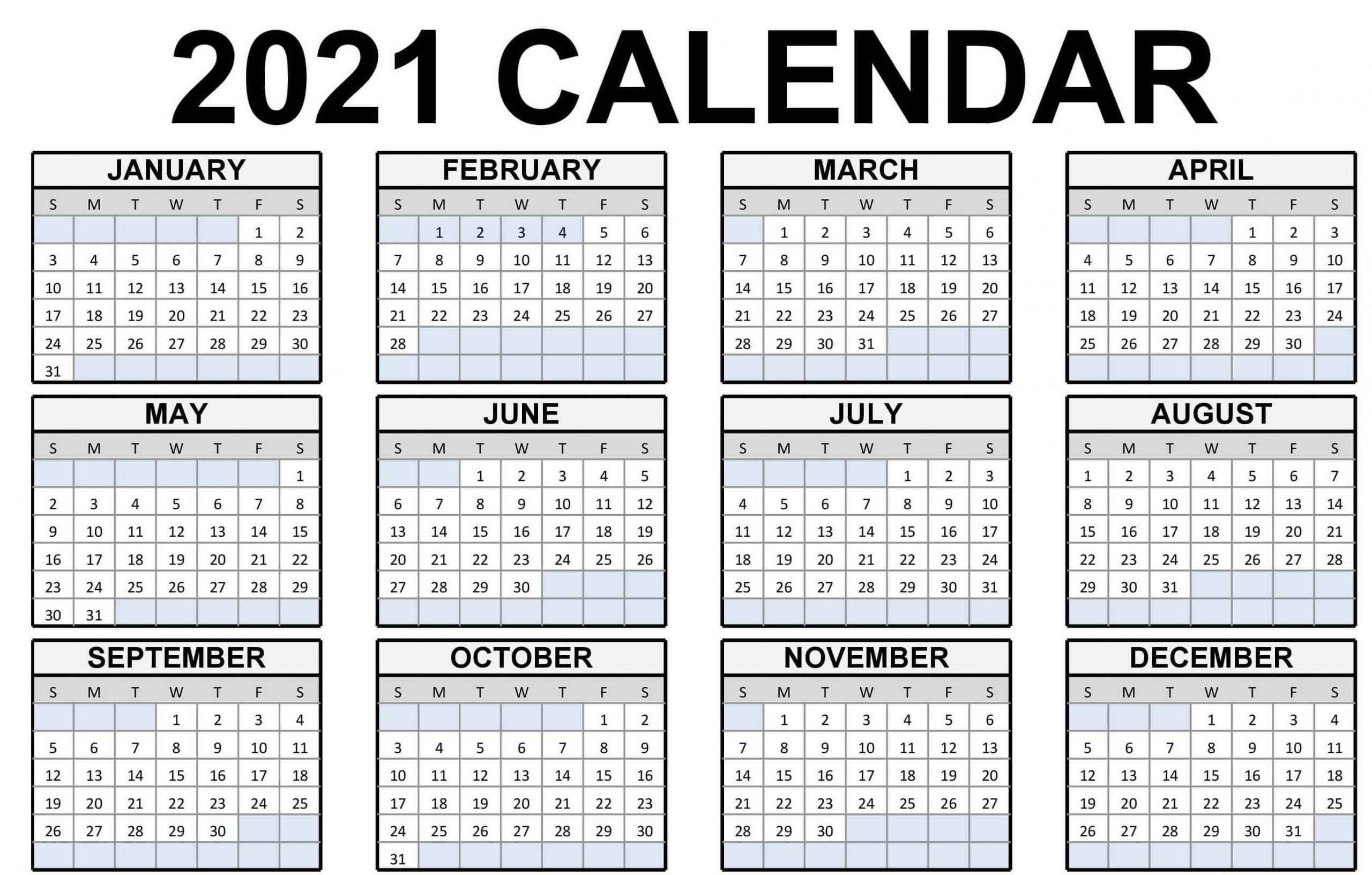 Full Year Calendar 2021 Template