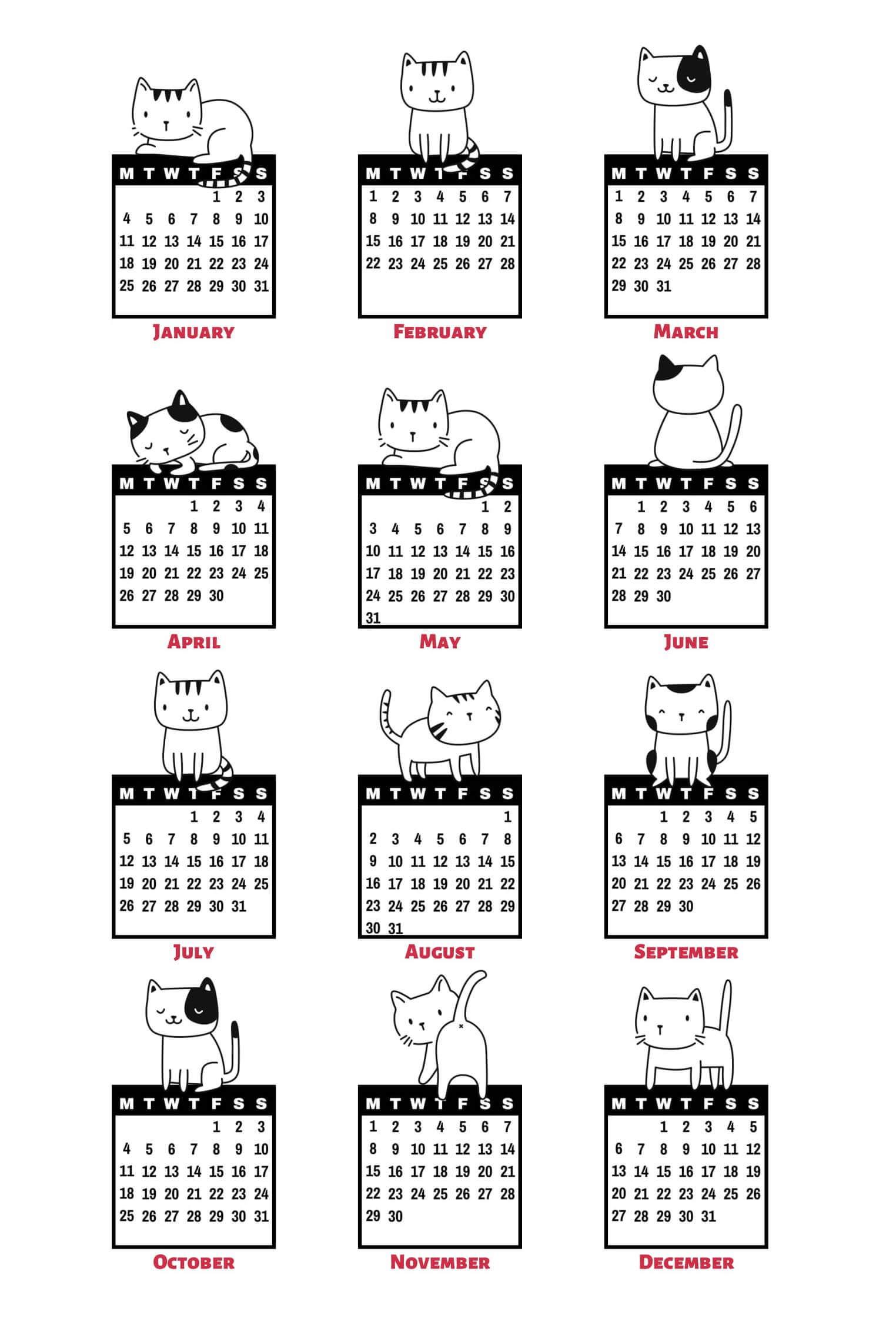 Full Year Calendar For 2021