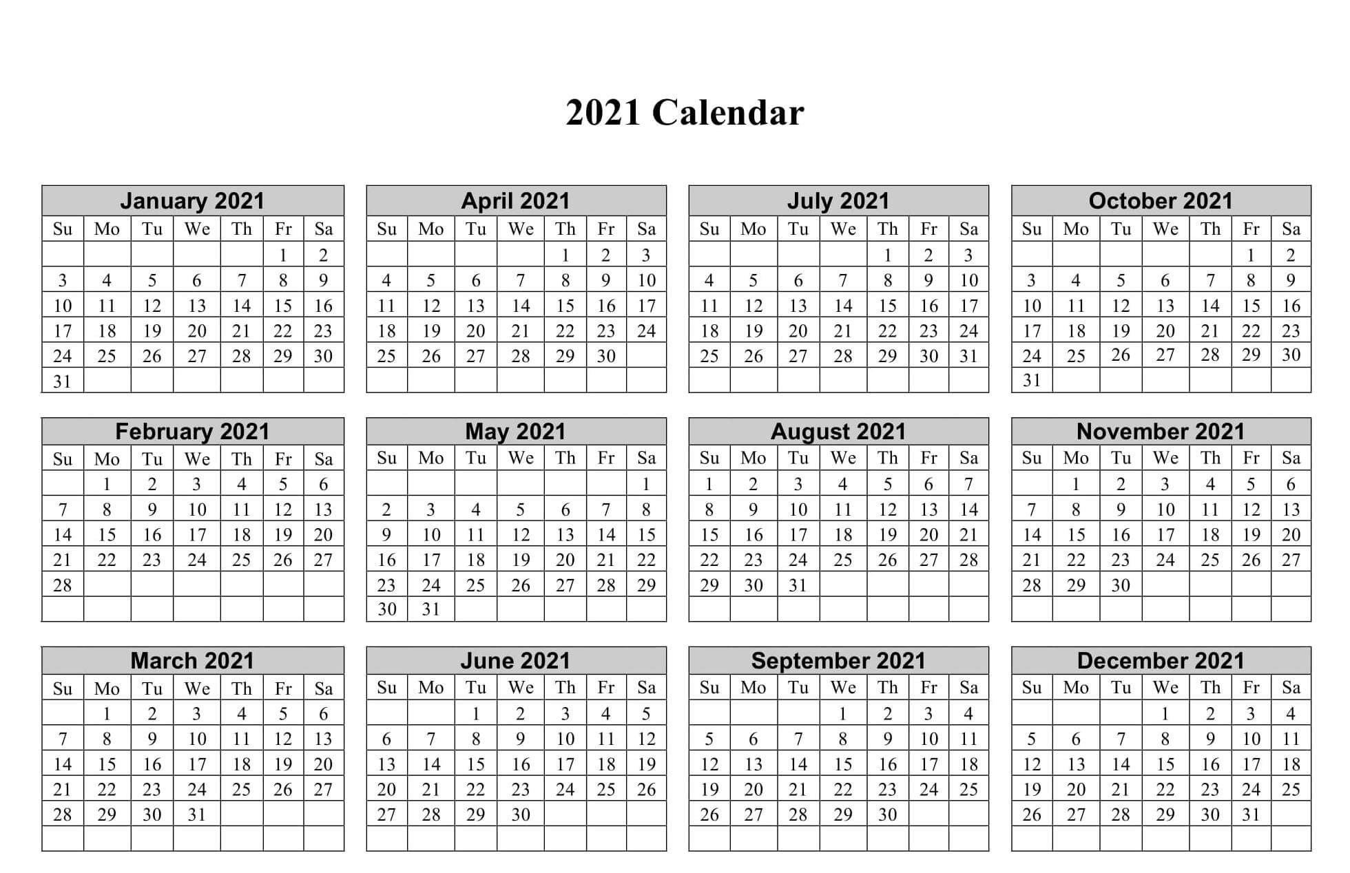 Horizontal Calendar 2021