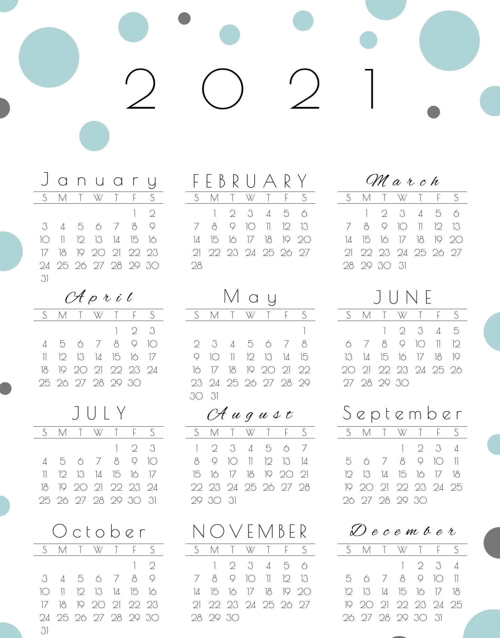 Large Yearly Calendar 2021 Printable