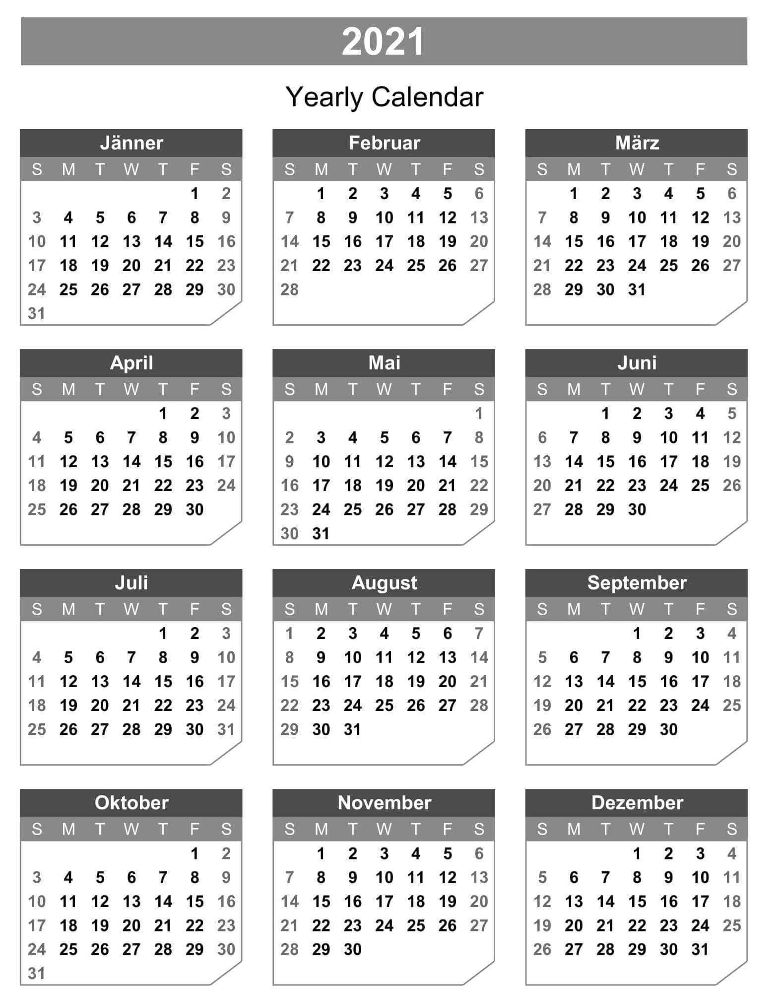 Microsoft Excel Yearly Calendar 2021