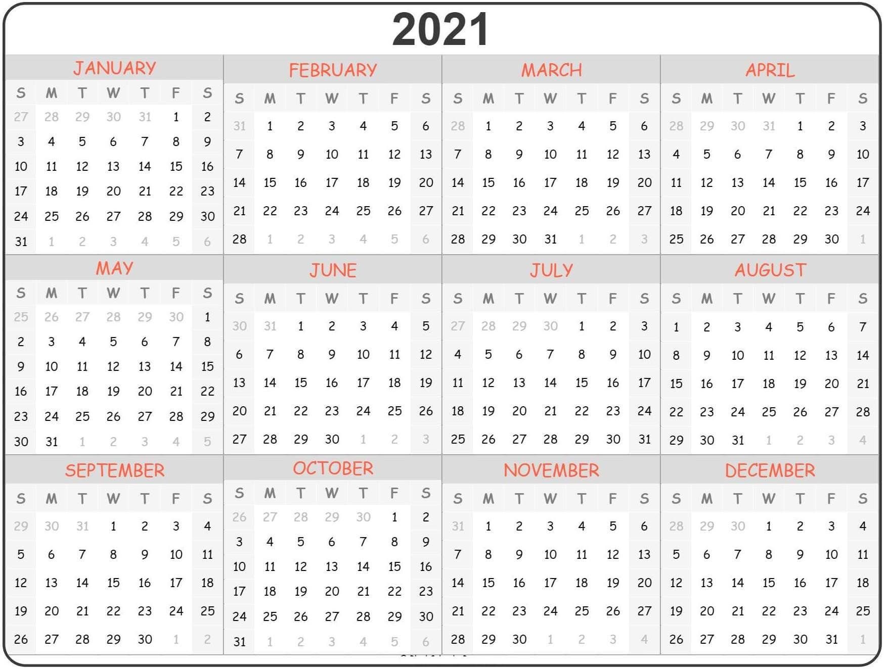 Mini Yearly Calendar 2021 Printable