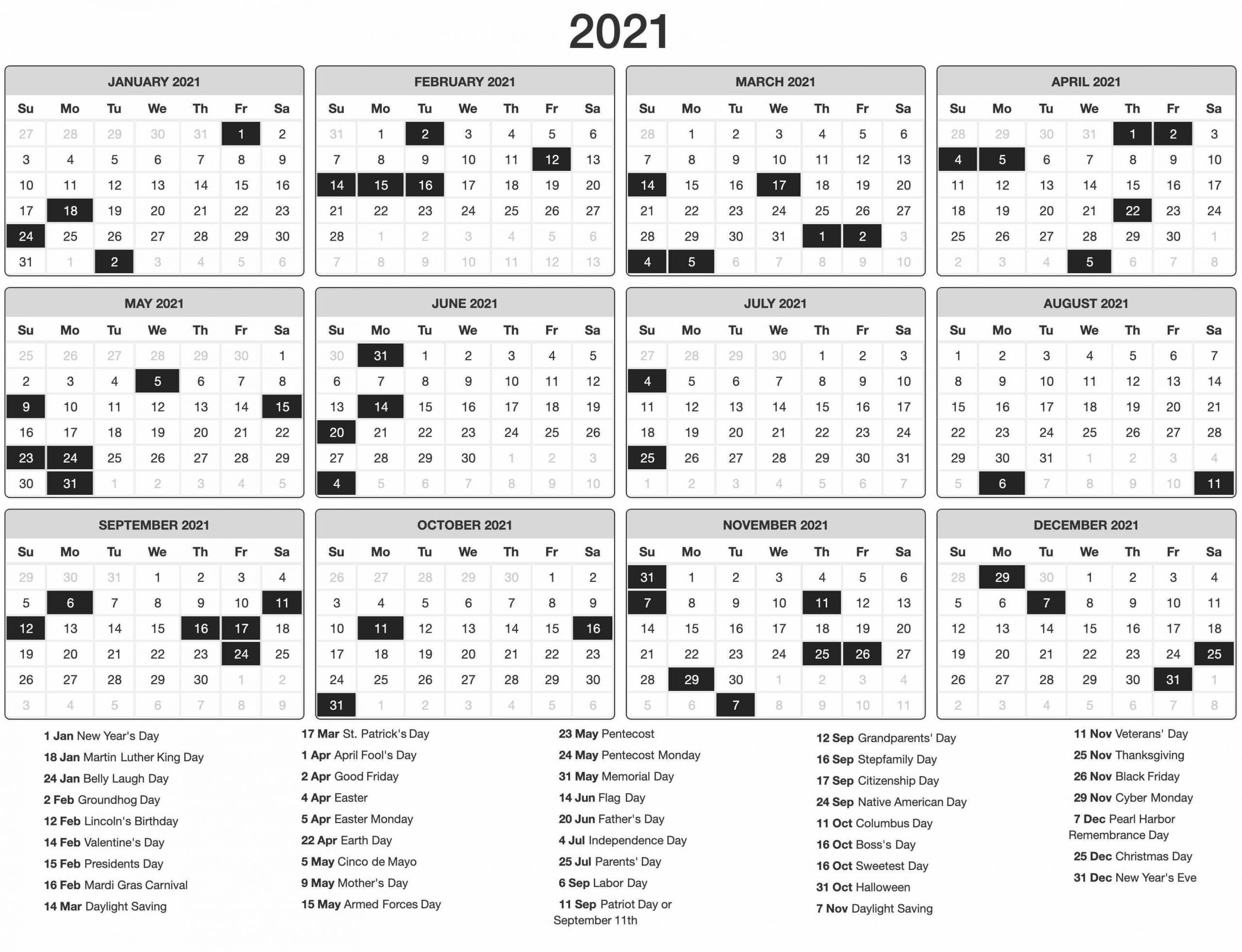New Year Calendar 2021 Holidays