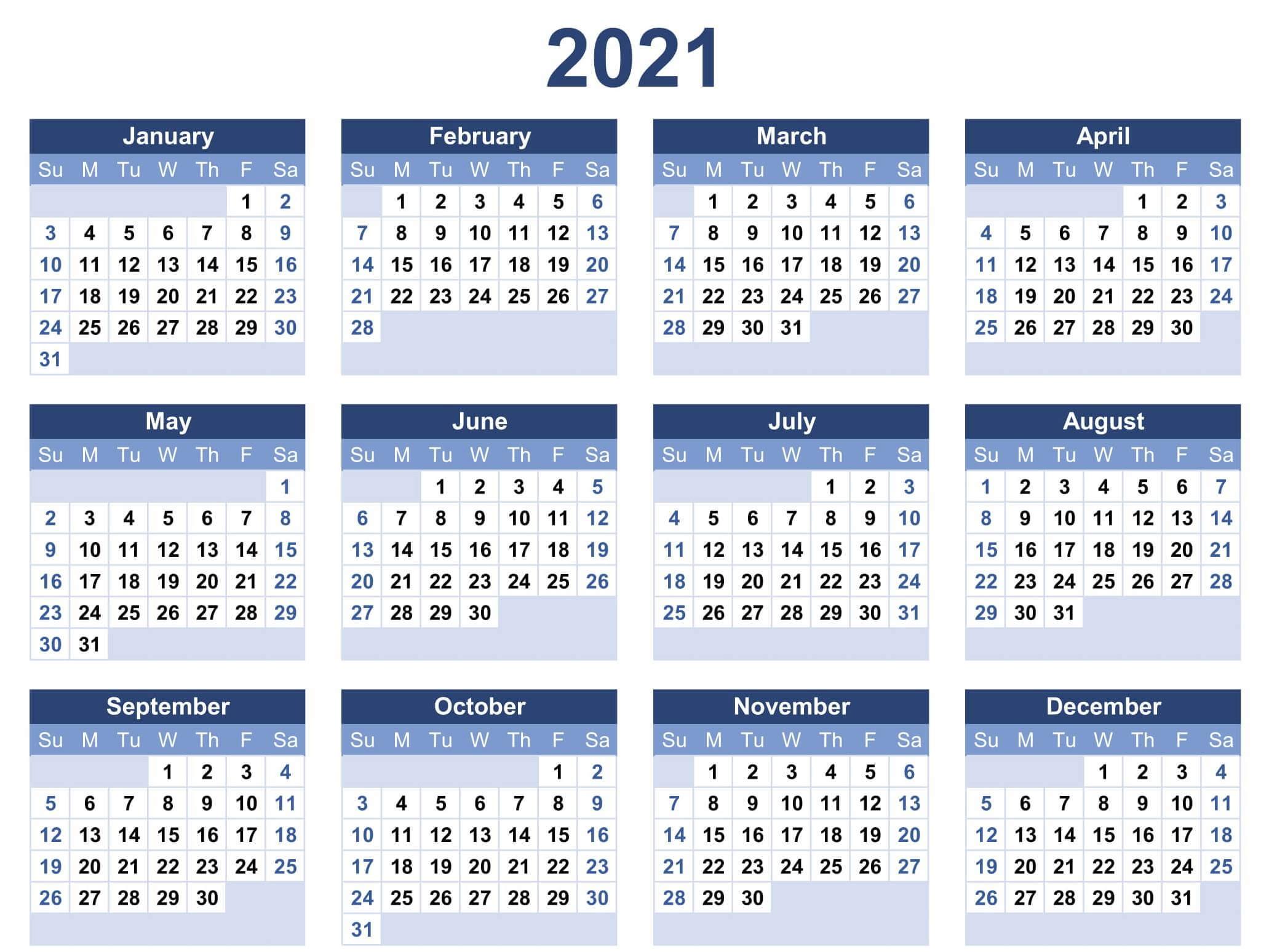 One Year Calendar 2021 Excel