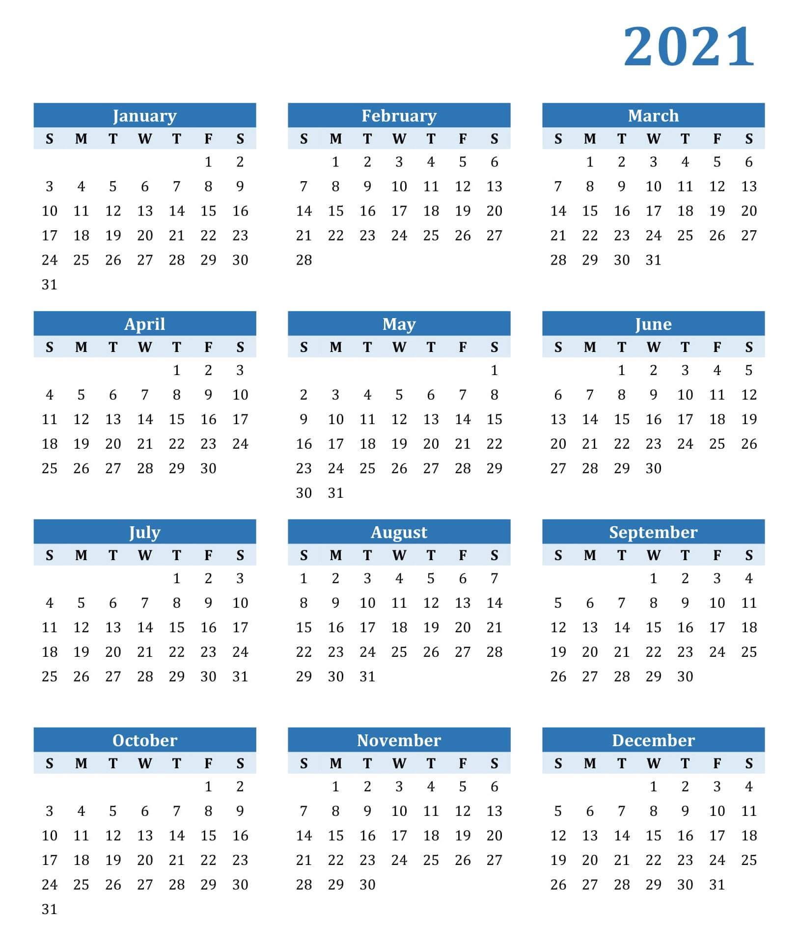 One Year Calendar 2021 Printable