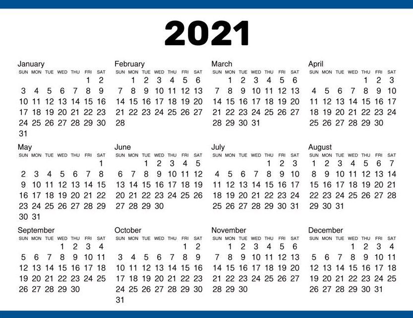 One Year Calendar 2021 Template