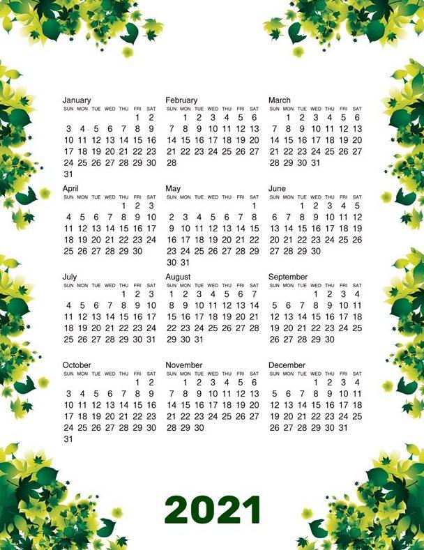 Planning Calendar 2021
