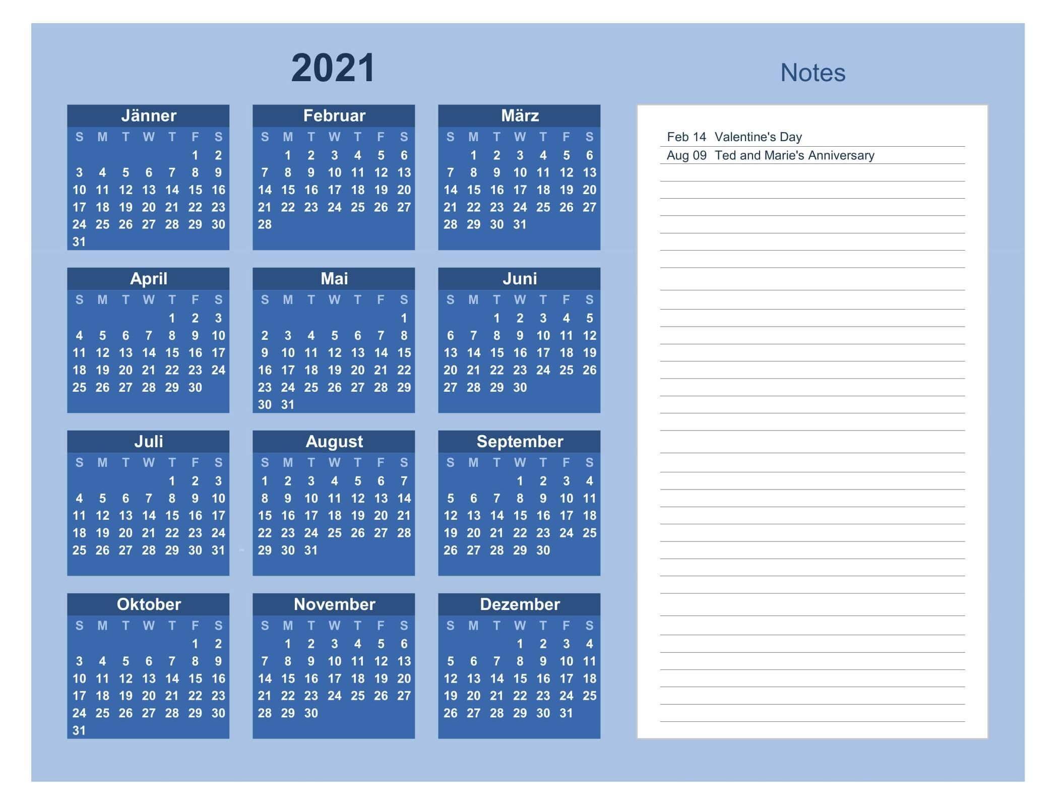 Printable Calendar 2021 With Notes