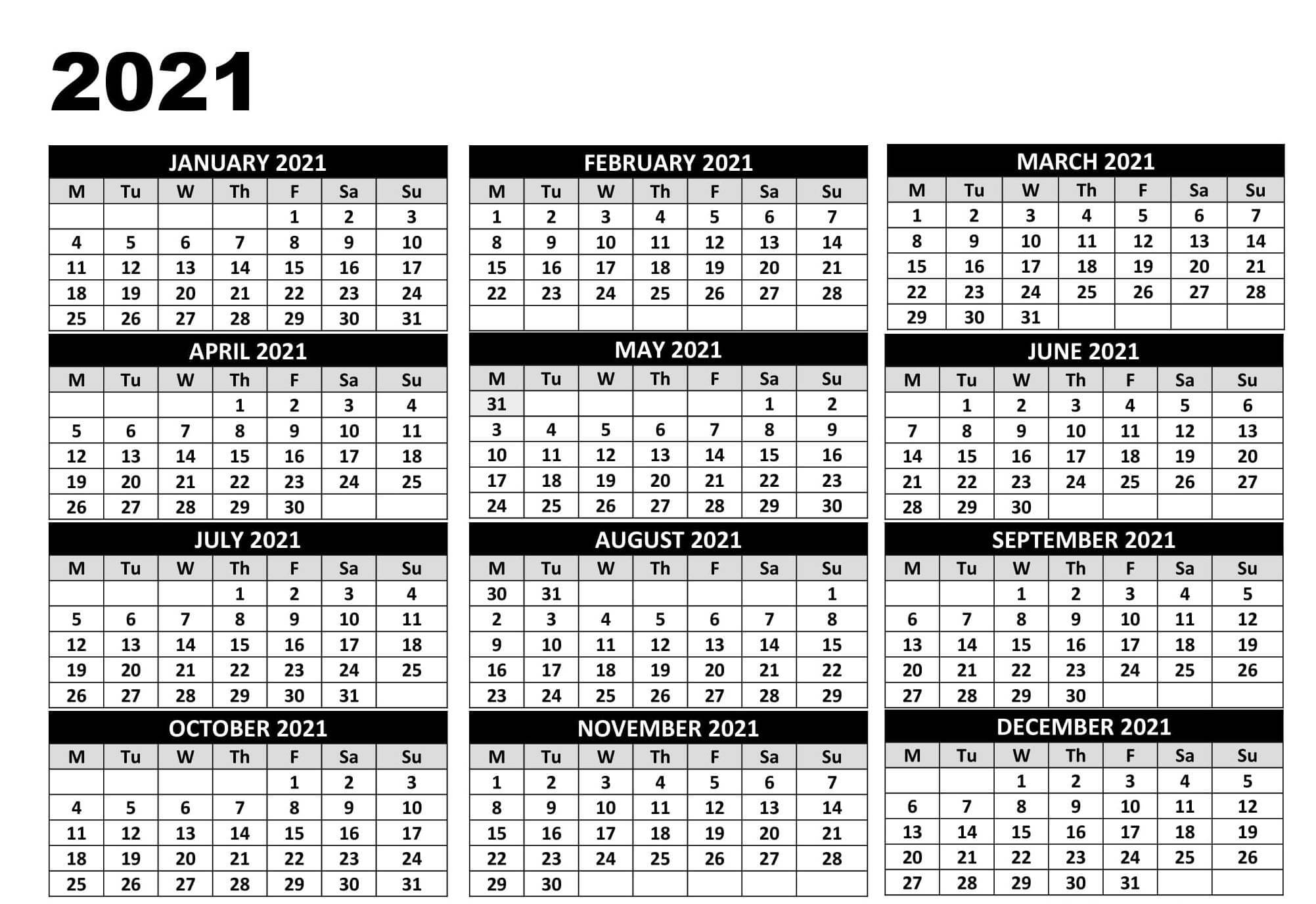 Printable Year Calendar 2021 South Africa