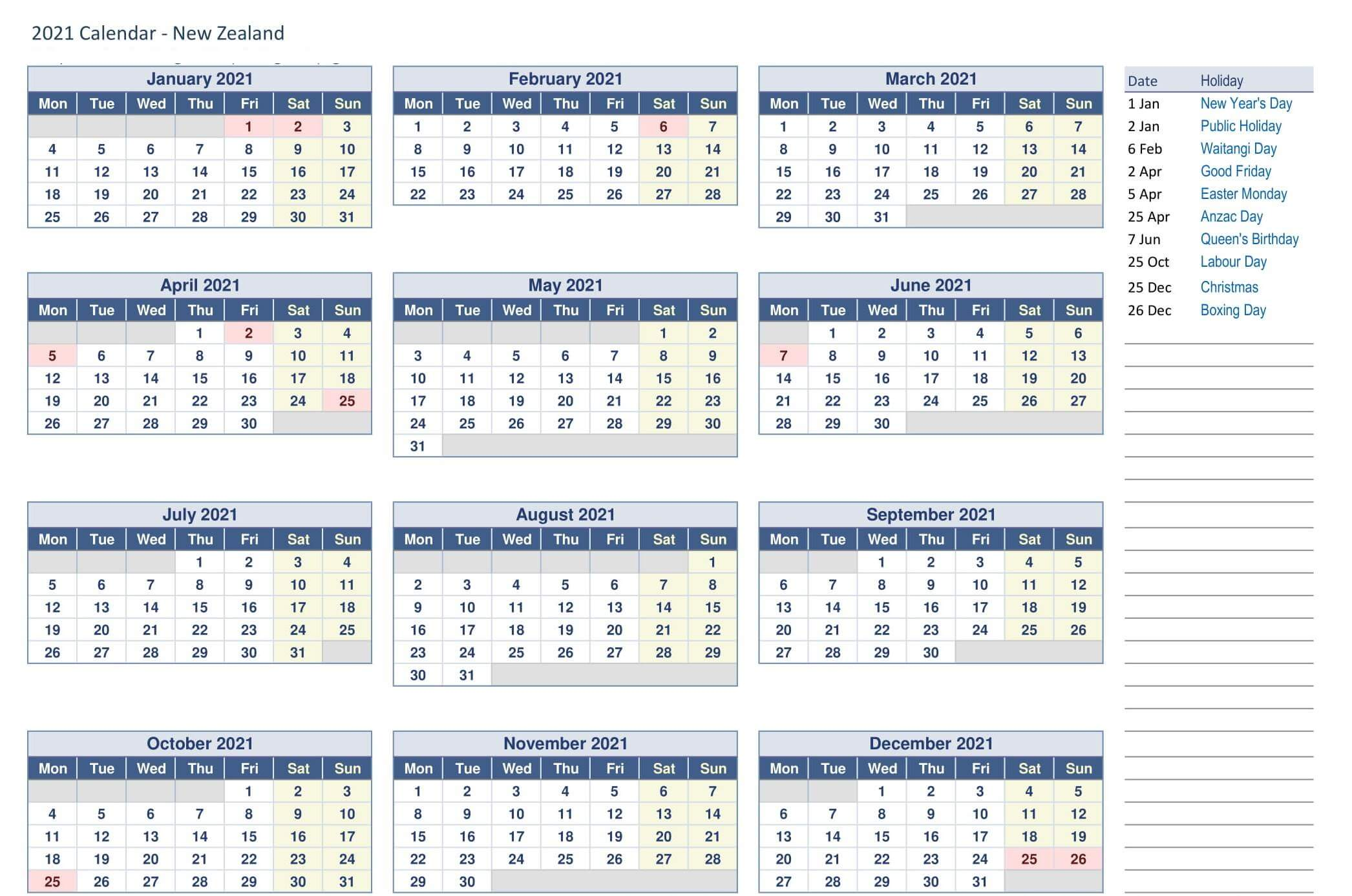 Printable Yearly Calendar 2021 NZ
