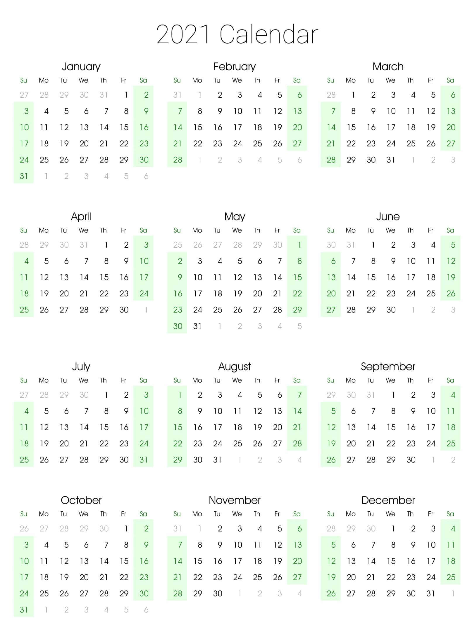 Printable Yearly Calendar 2021