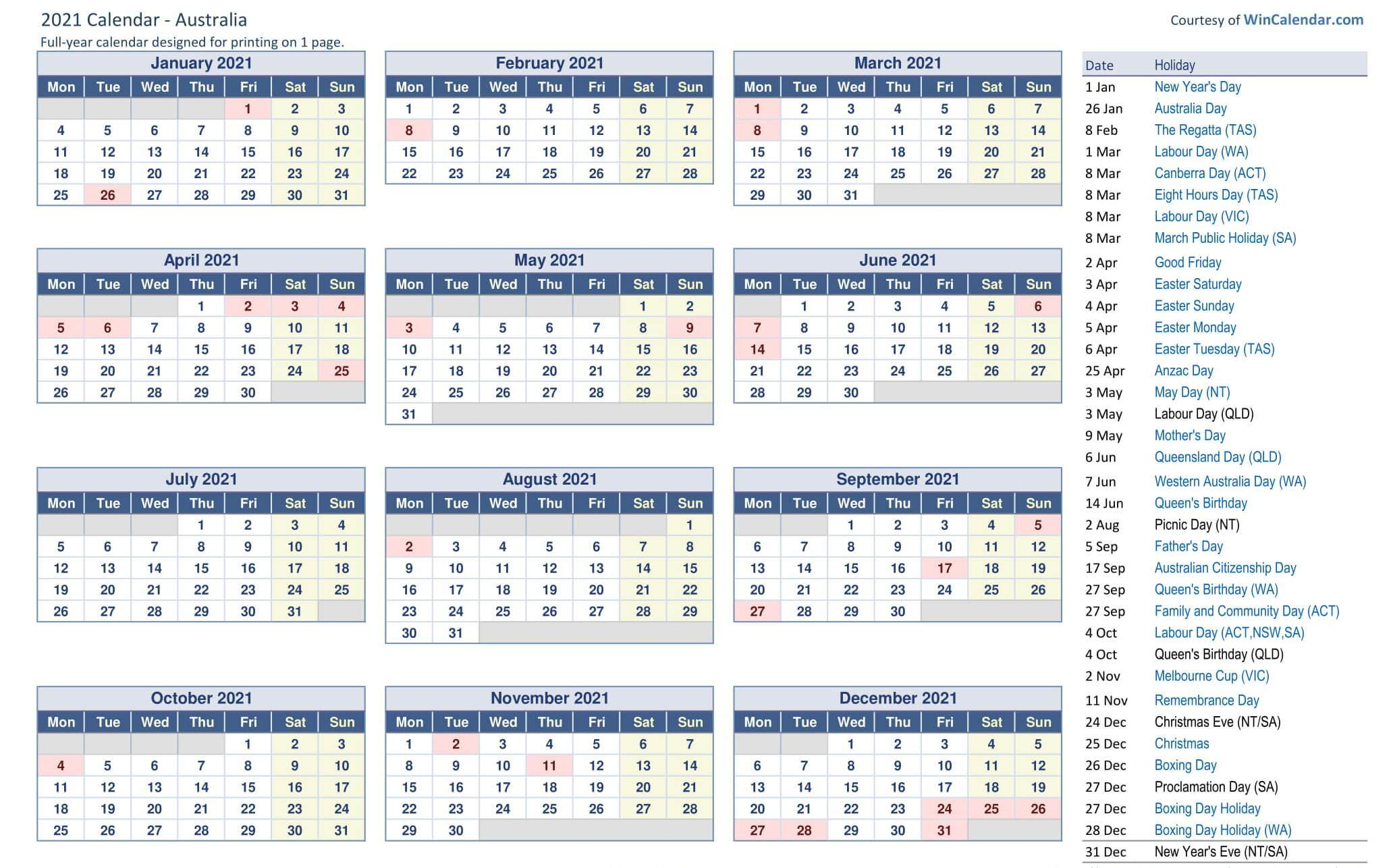 Printable Yearly Calendar Australia