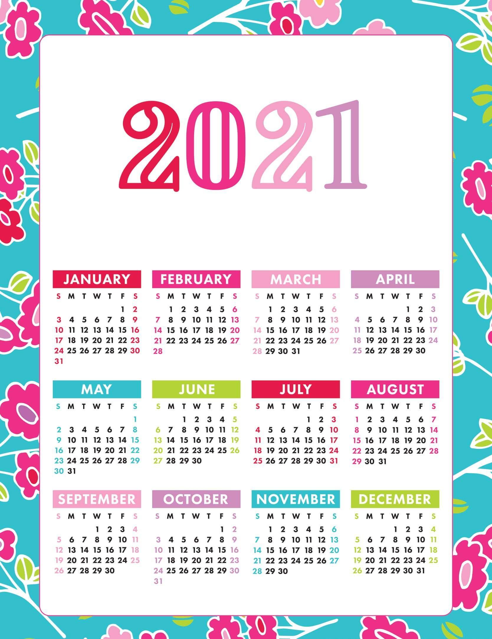 Printable Yearly Desk Calendar 2021